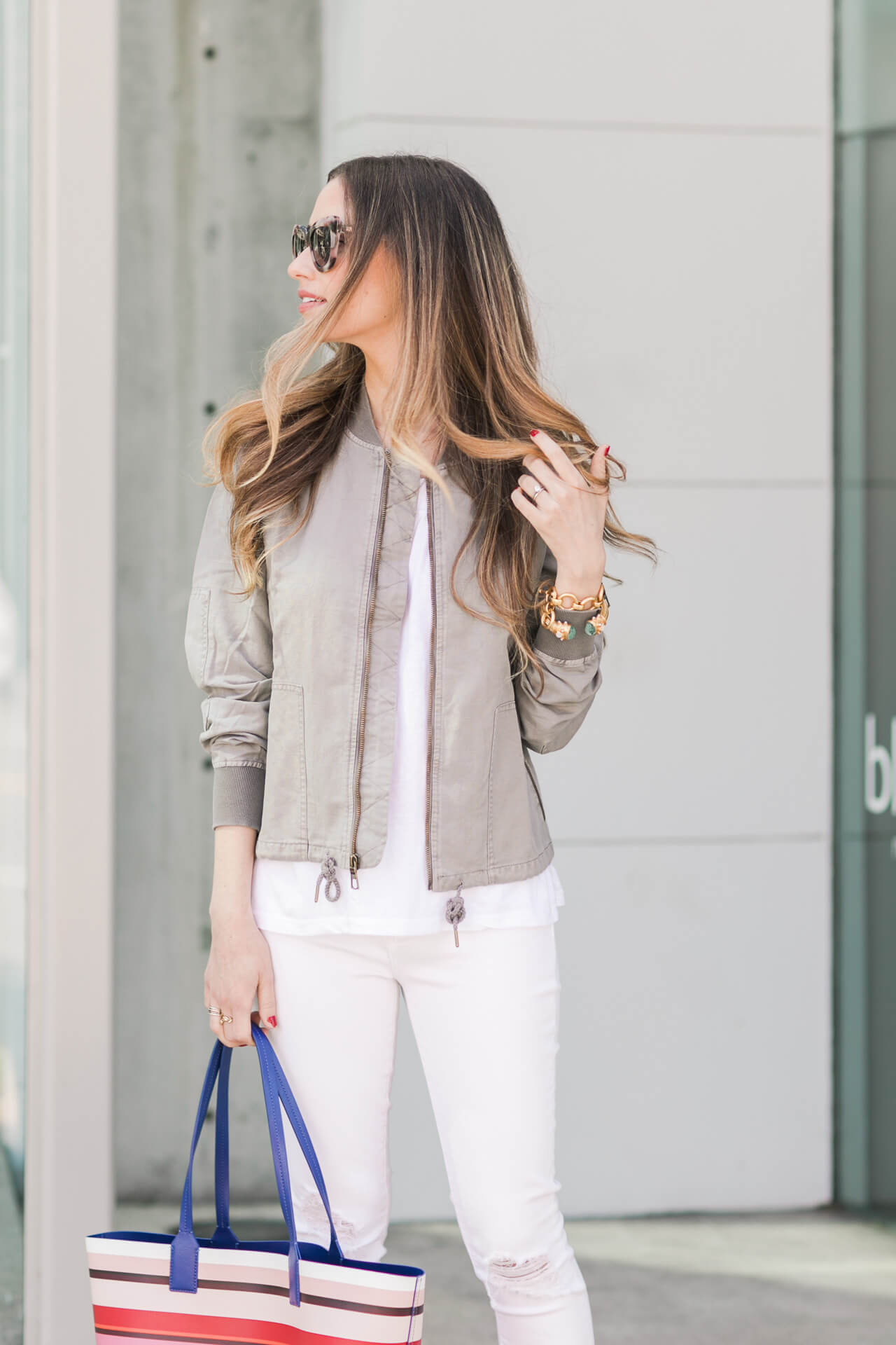 a white and gray spring outfit