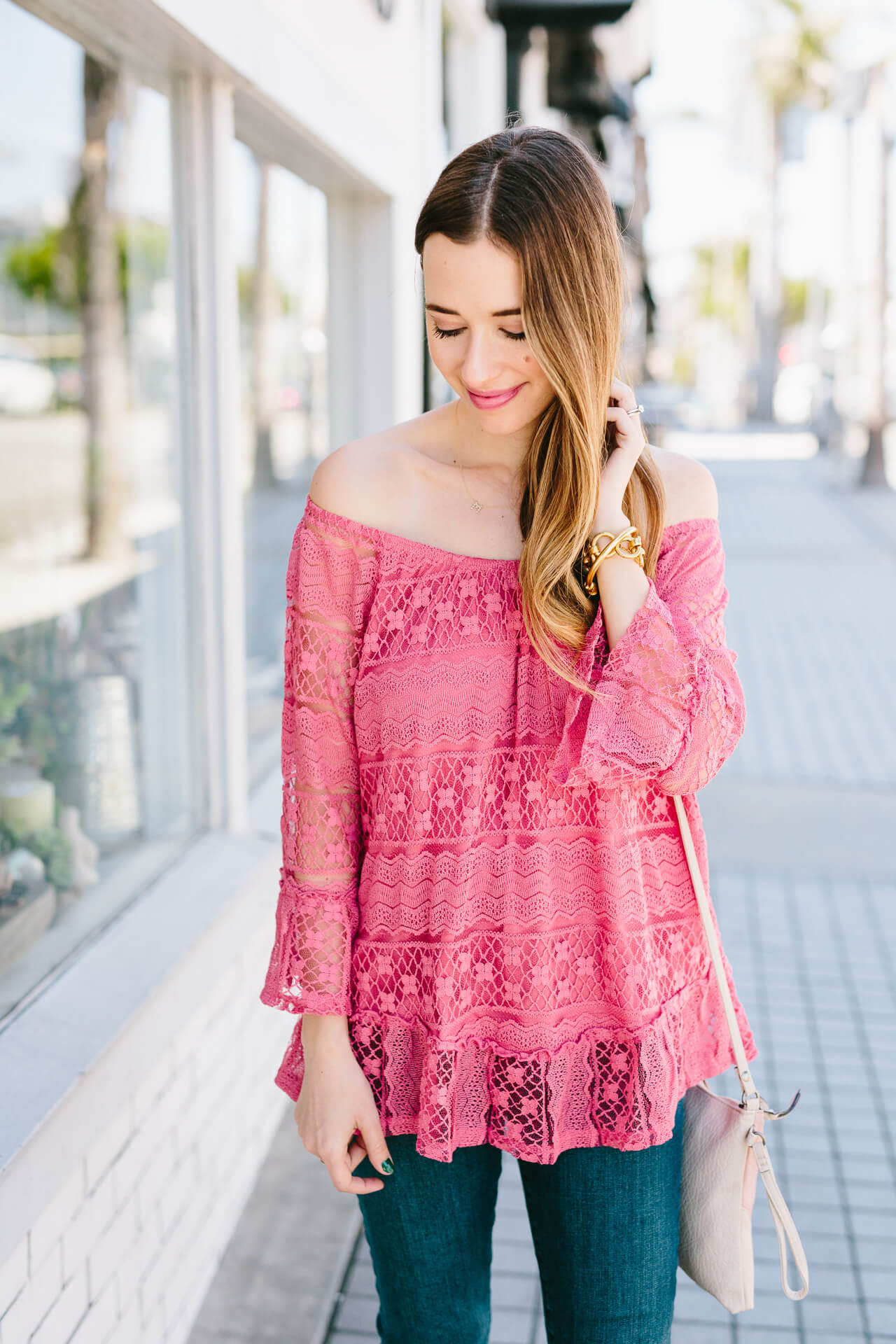 feminine pink lace off the shoulder top from style & co
