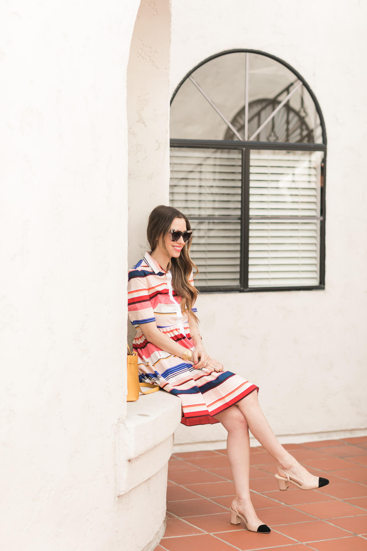 the prettiest striped shirtdress for spring