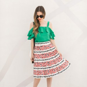 berry print skirt with green cold shoulder dress
