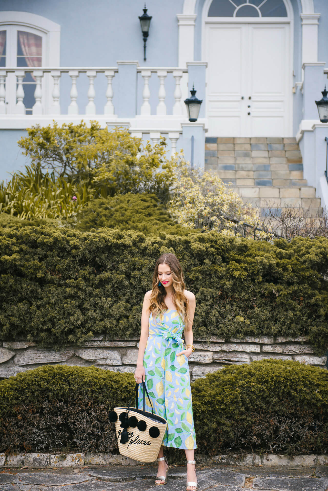 retro-inspired outfit inspiration for spring - lemon print jumpsuit