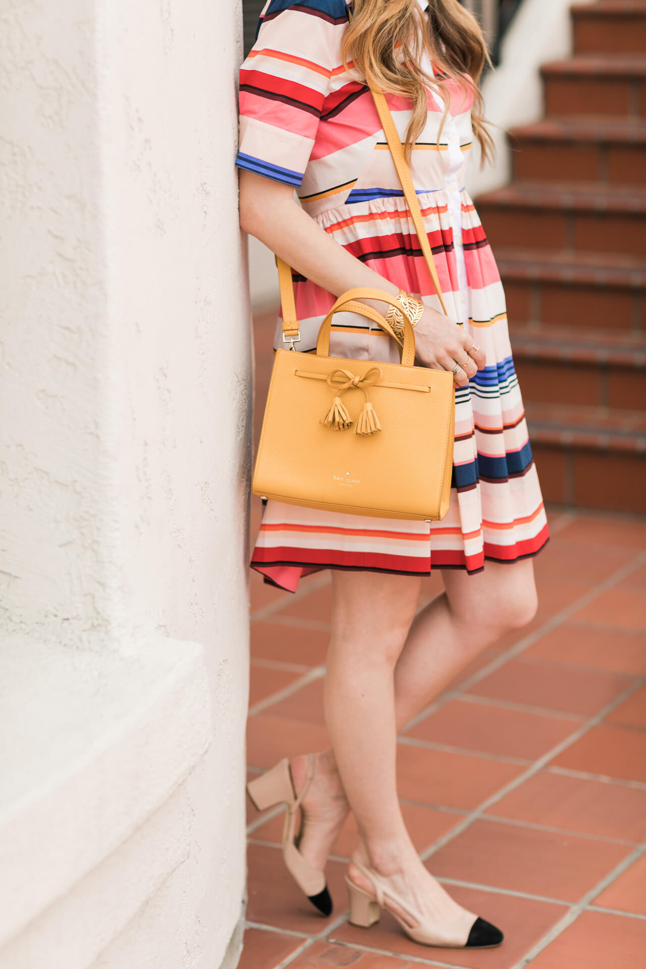 colorful outfit inspiration: kate spade mustard hayes street isobel bag
