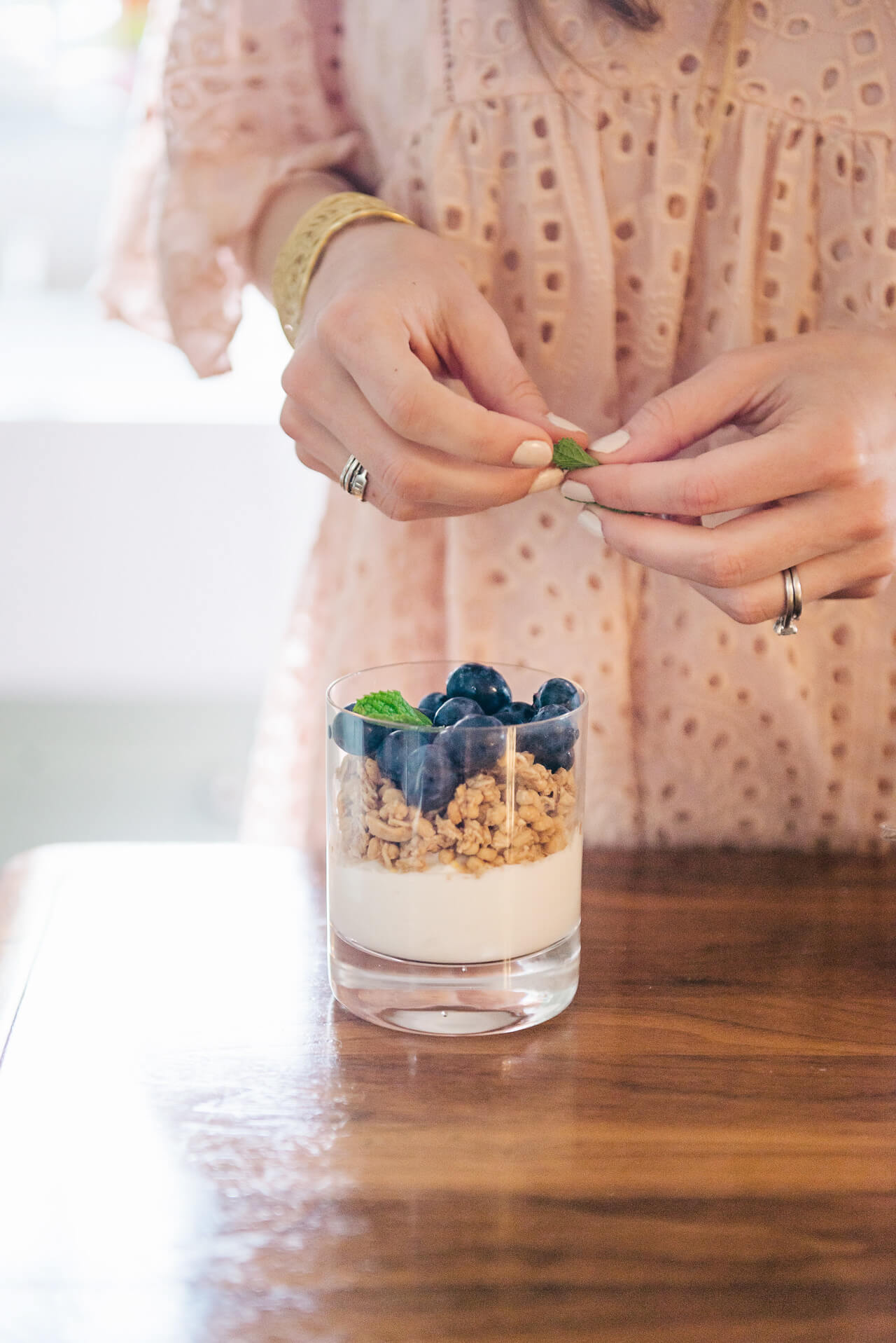 Blueberry parfait with granola and cute presentation