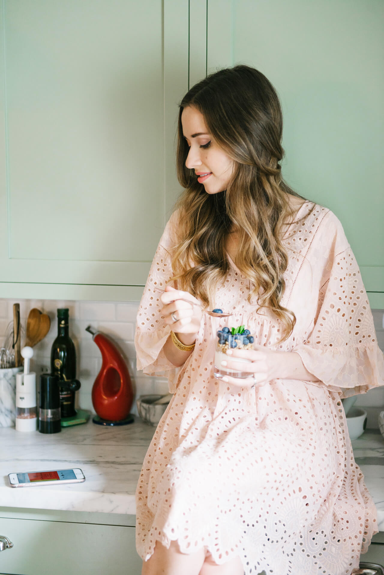 Easy breakfast meal with blush dress