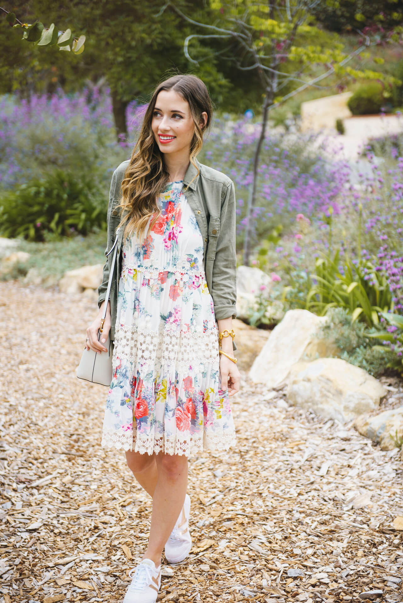 Spring outfit with floral dress and sneakers