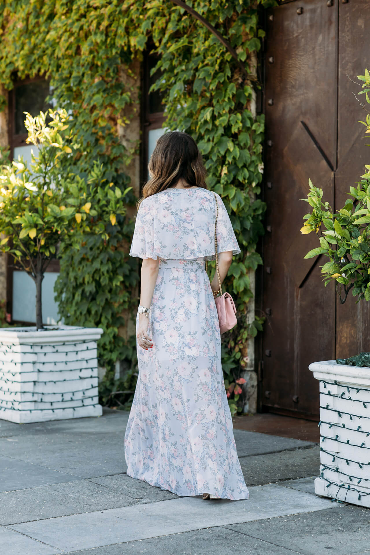 pretty back detailing on this floral maxi