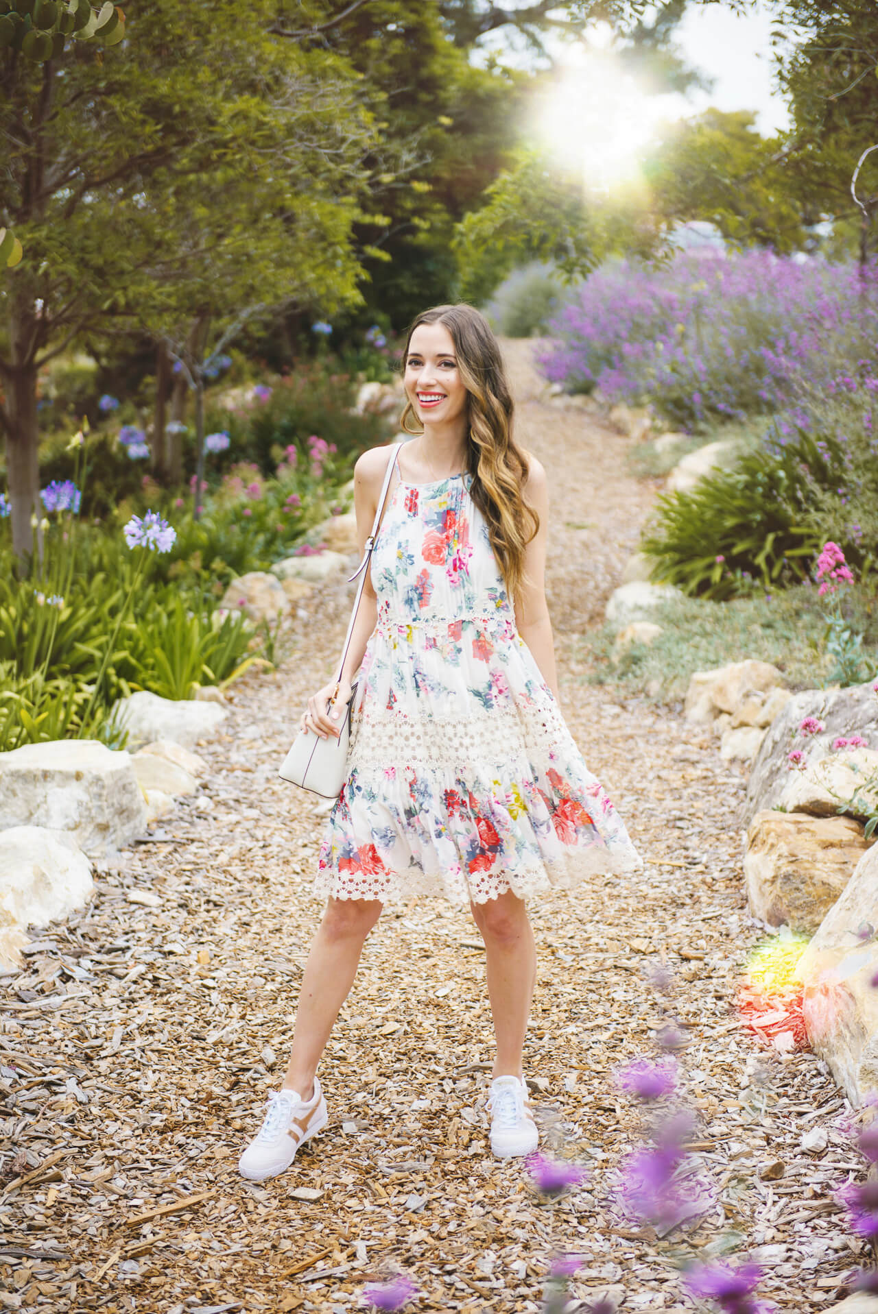 Love this Spring look with a floral dress and sneakers from Anthropologie- M Loves M @marmar