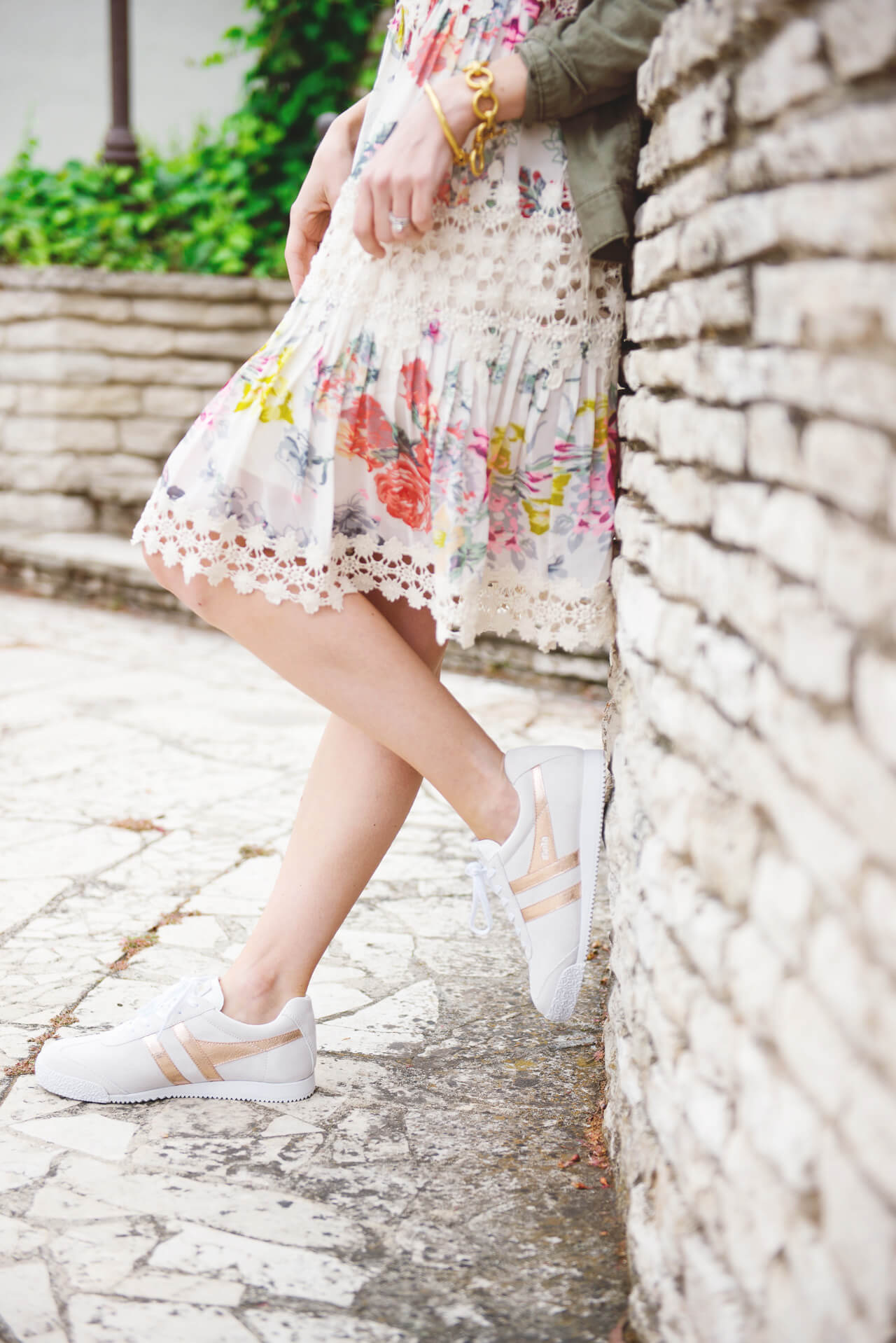 Floral and lace dress paired with Gola sneakers - M Loves M @marmar