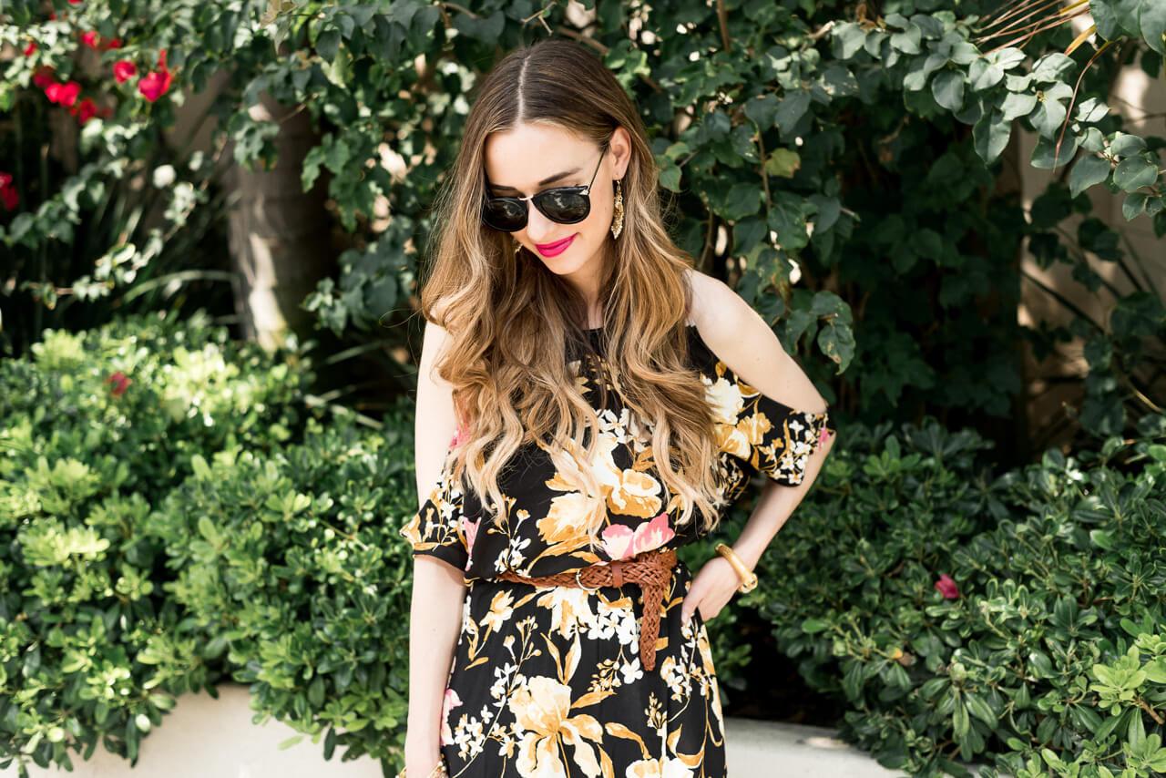 cold shoulder wrap dress on Los Angeles blogger M Loves M