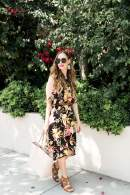 styling a dark floral midi dress for summer