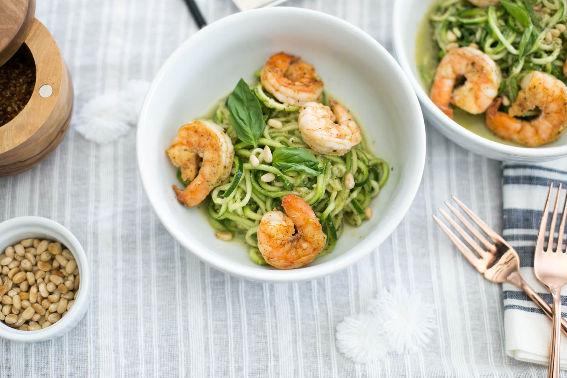 zucchini noodles and seasoned shrimp as my favorite dish this summer - M Loves M @marmar