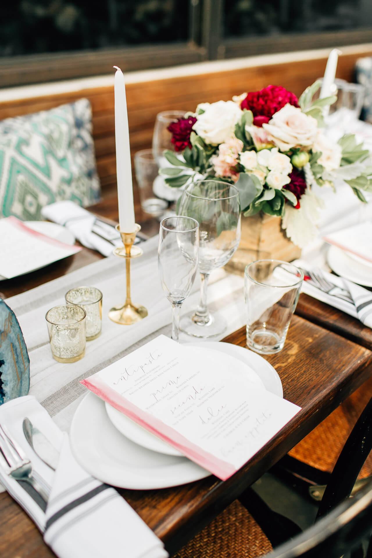 menu at madera kitchen wedding reception