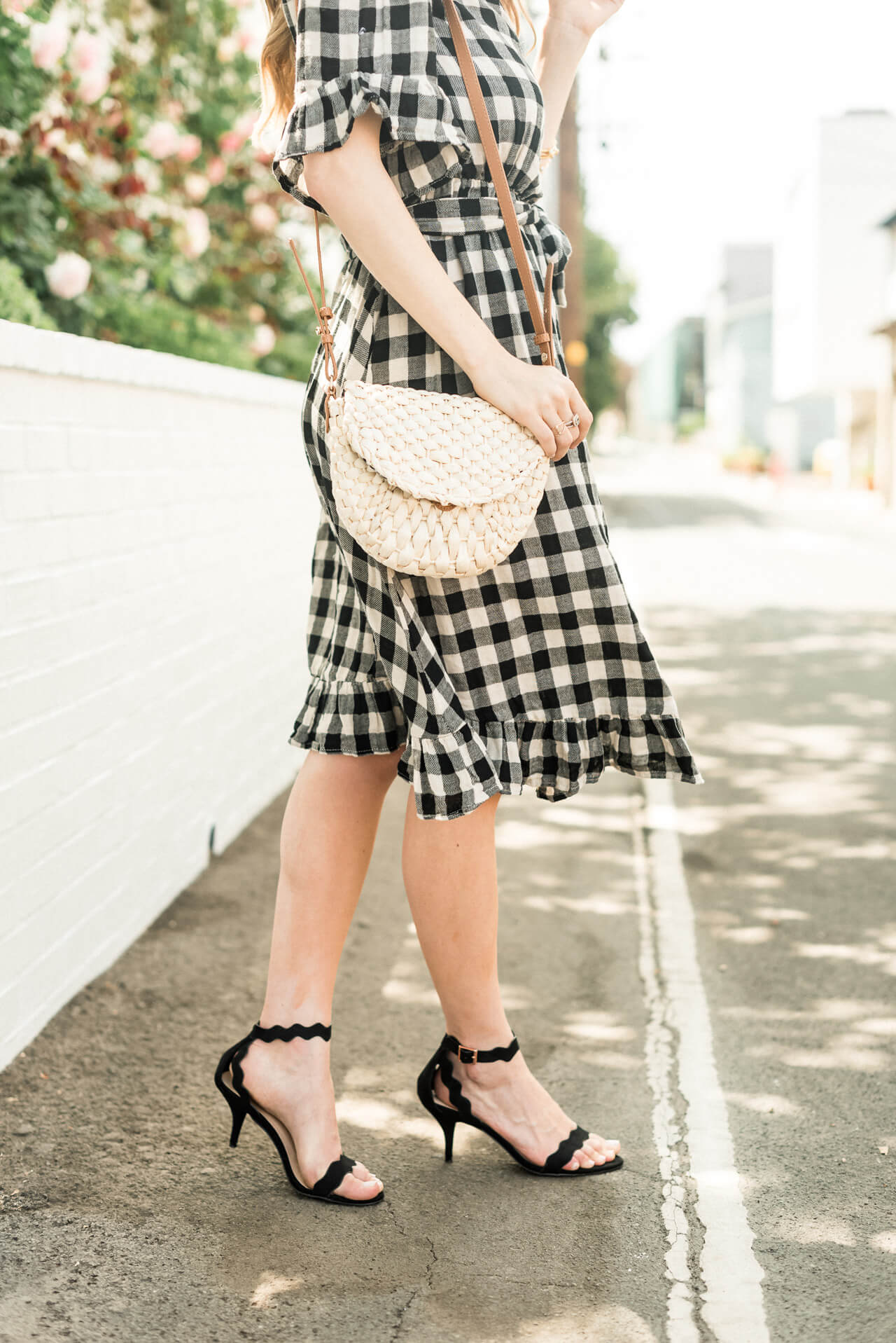 paring this straw bag with a wrap dress for both summer and fall - M Loves M @marmar