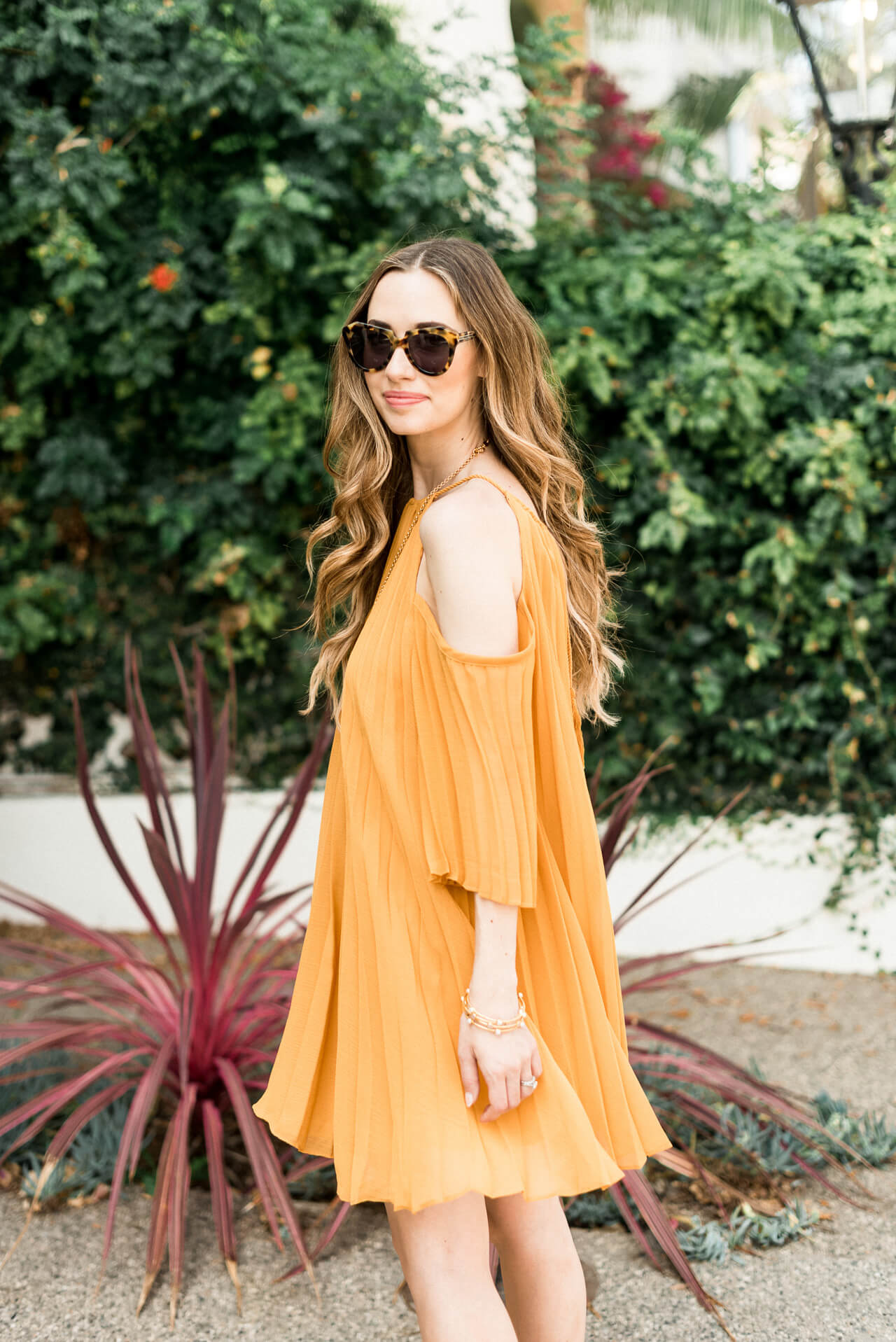 twirling in this lovely mustard pleated dress - M Loves M @marmar