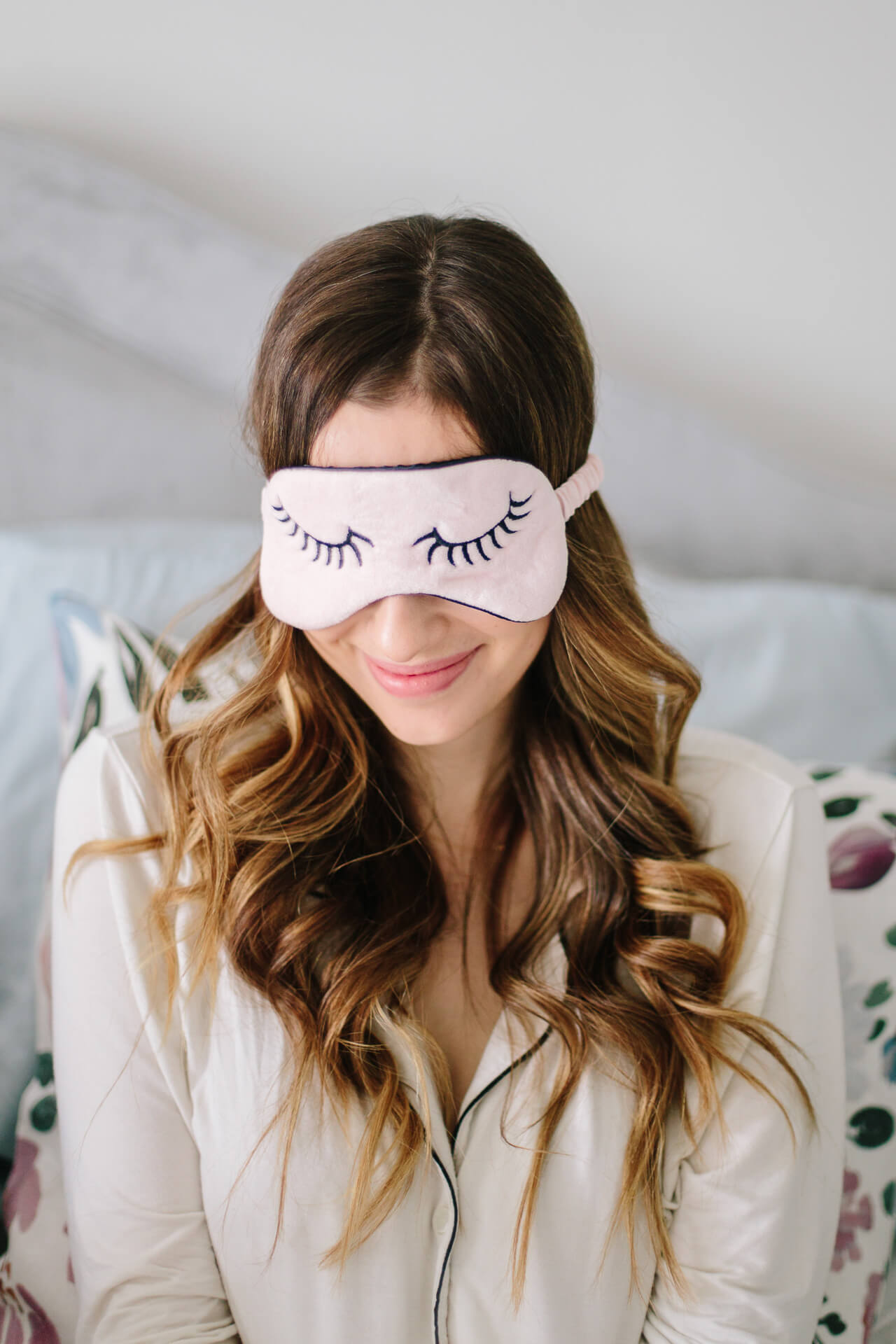 Love this cute sleep mask and the pretty pajamas
