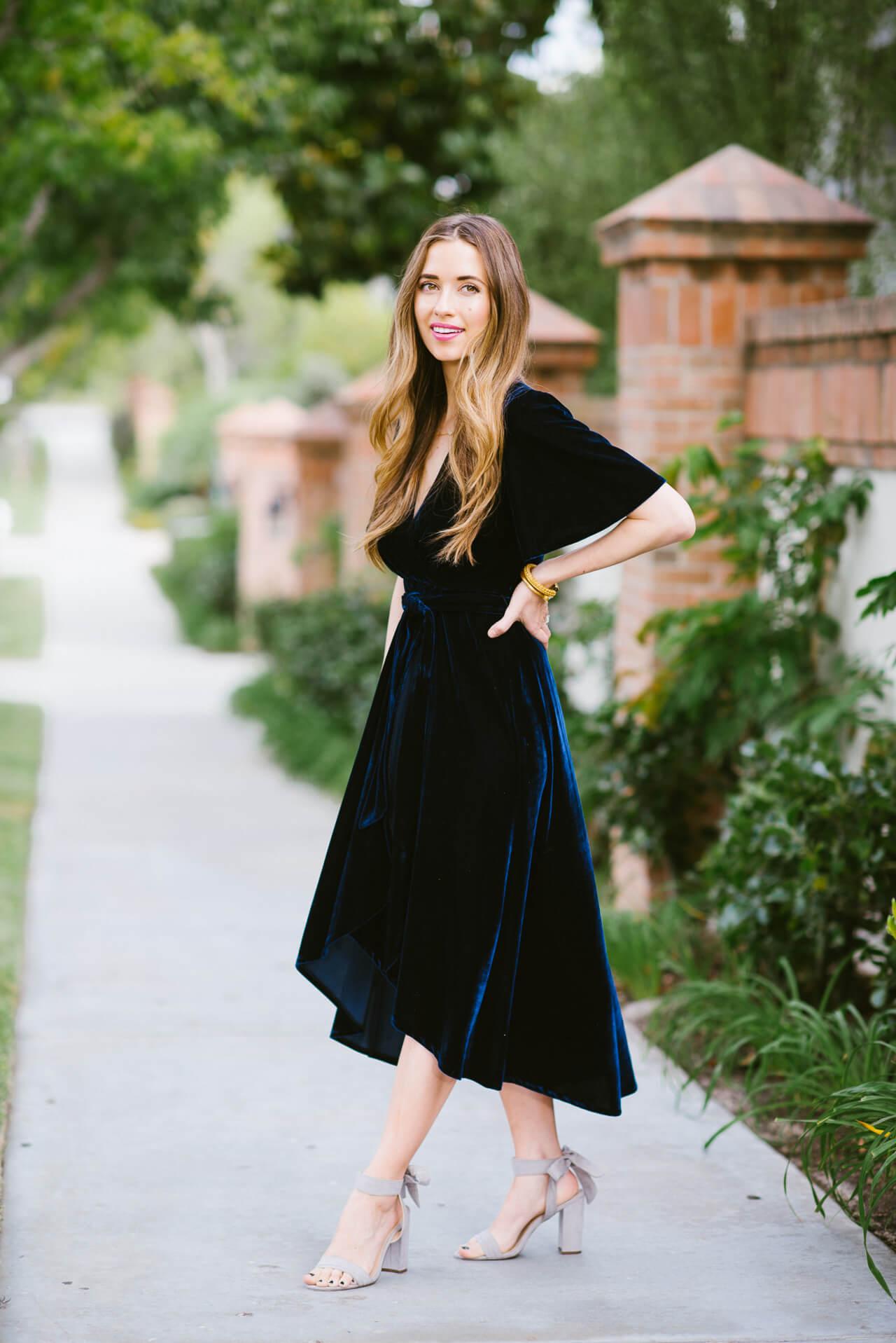 Wearing a velvet wrap dress for Fall now on the blog - M Loves M @marmar