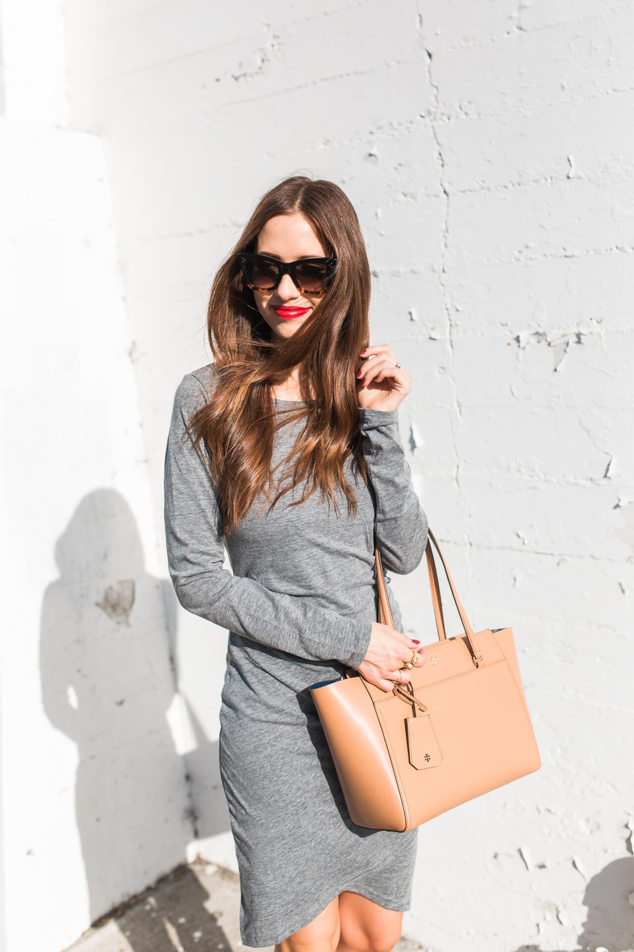 Love this grey long-sleeve dress! | M Loves M -@marmar