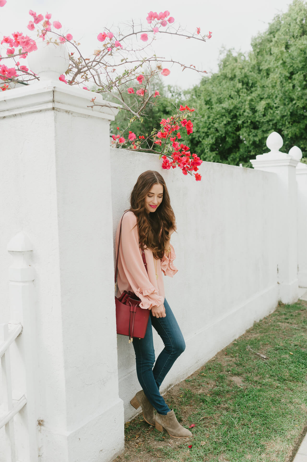 the prettiest pink bell sleeve top for fall - M Loves M @marmar