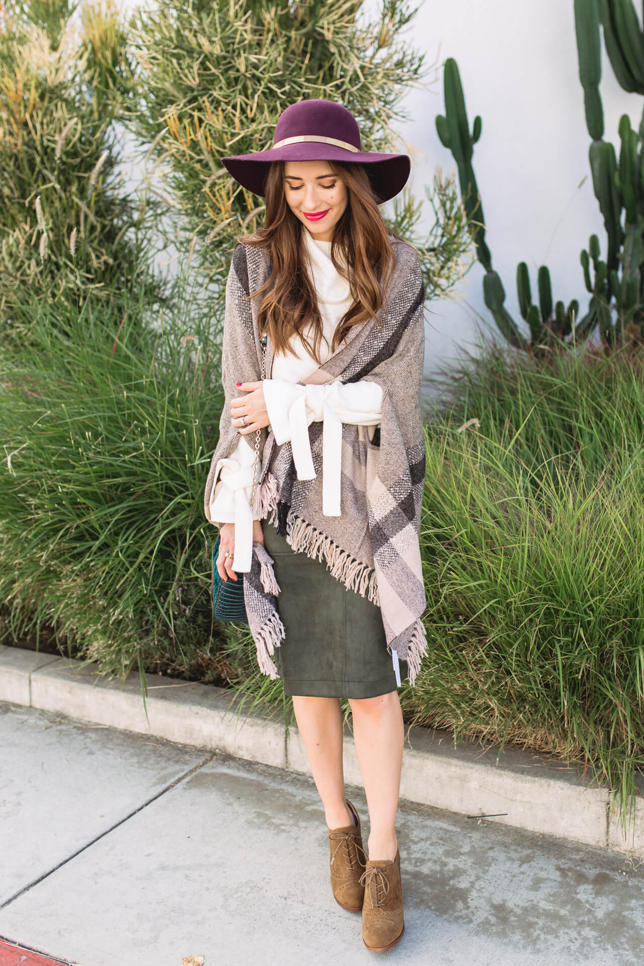 Sharing this suede skirt and plaid poncho look on M Loves M