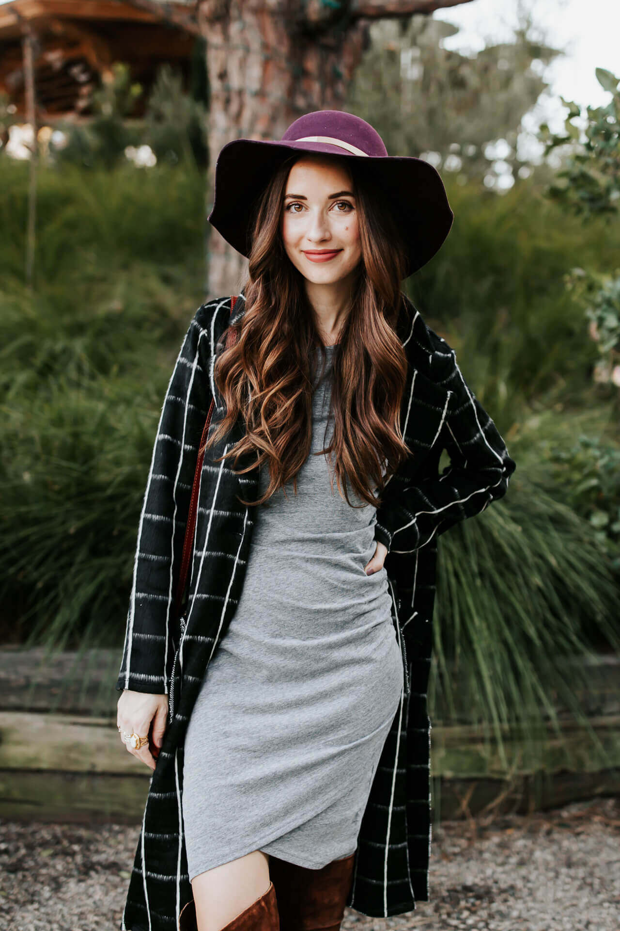 love layering over this body-con gray dress