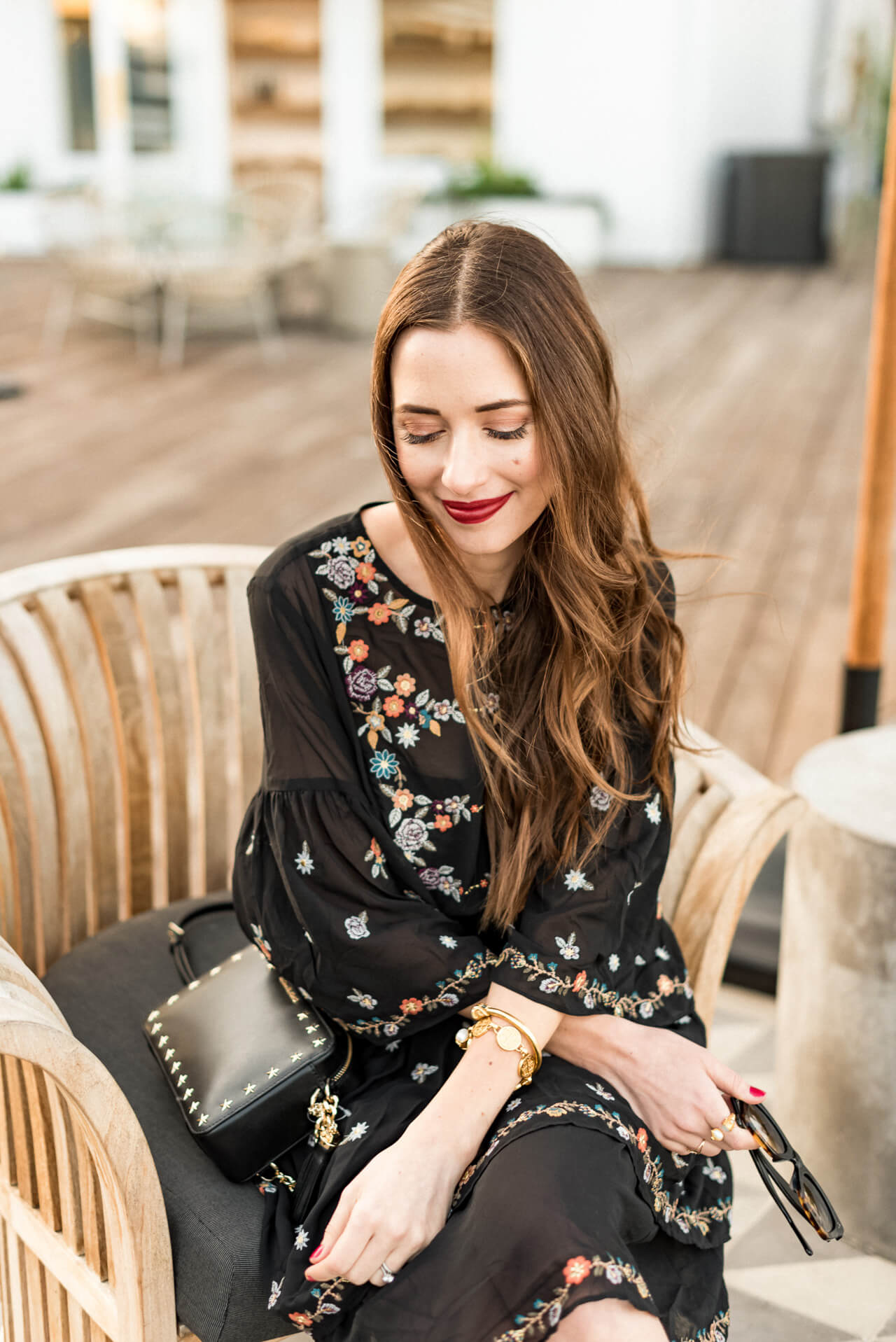 a pretty embroidered dress for fall