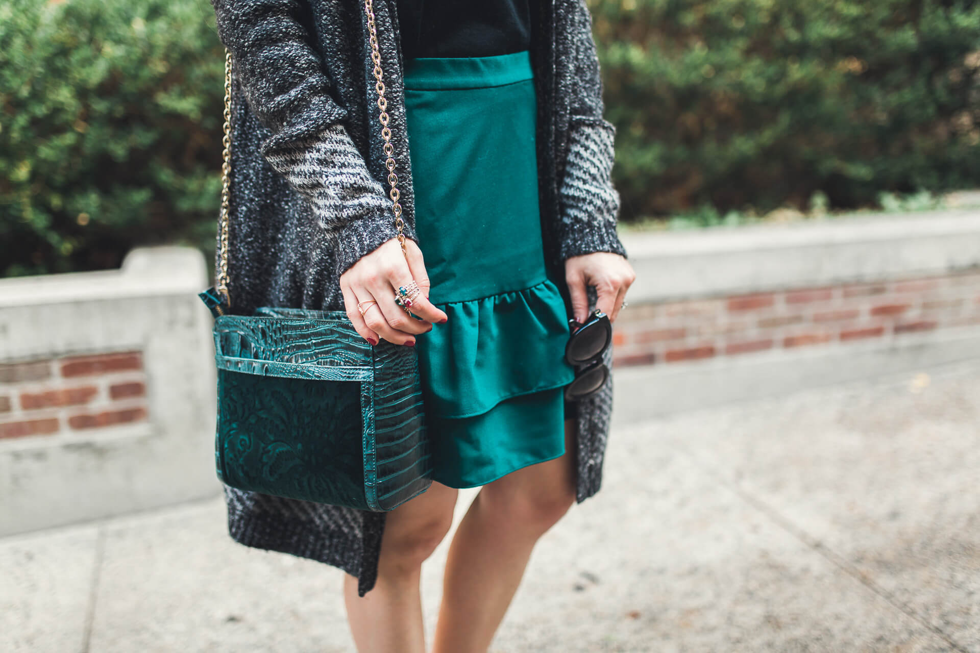 love the color of this skirt it's perfect for the holiday season