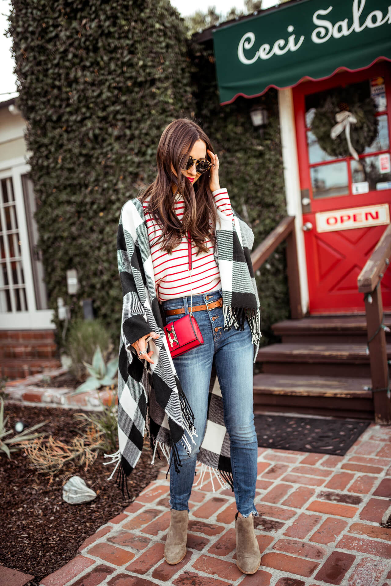 mixing stripes and plaid together in this look