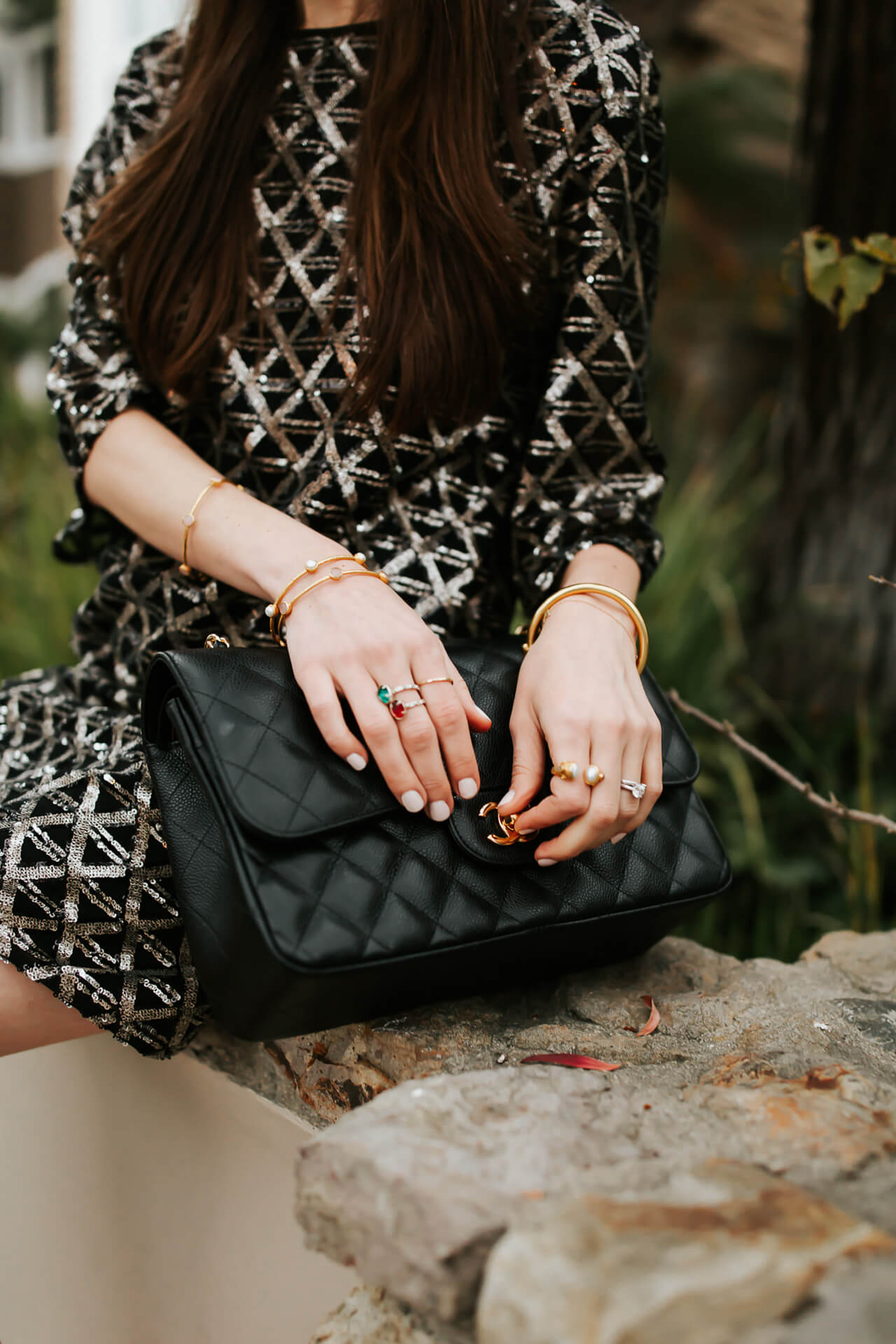 some of my favorite accessories include this bag and some of these dainty ring pieces