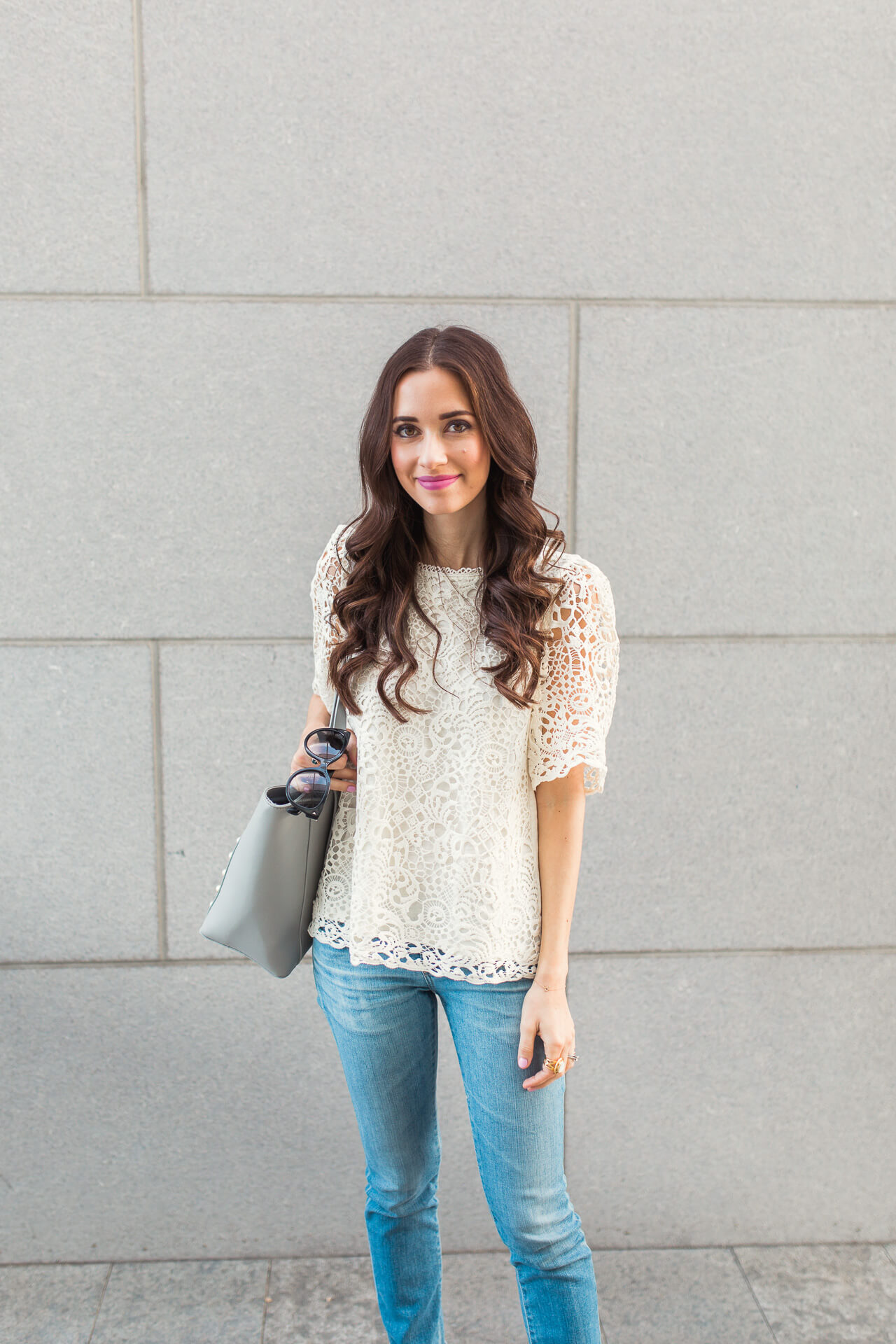 A gorgeous lace top to pair under coats in winter and wear into spring - M Loves M @marmar