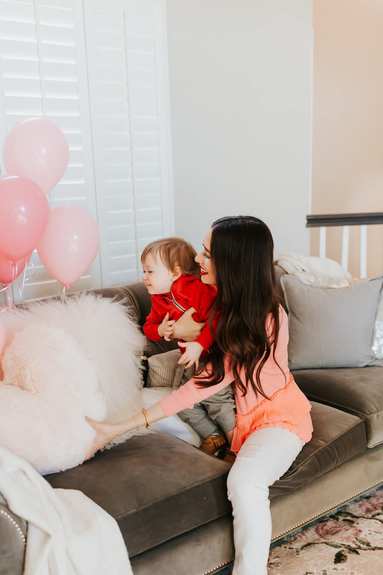 cute photos of mom and toddler boy - Valentine's Day home shoot