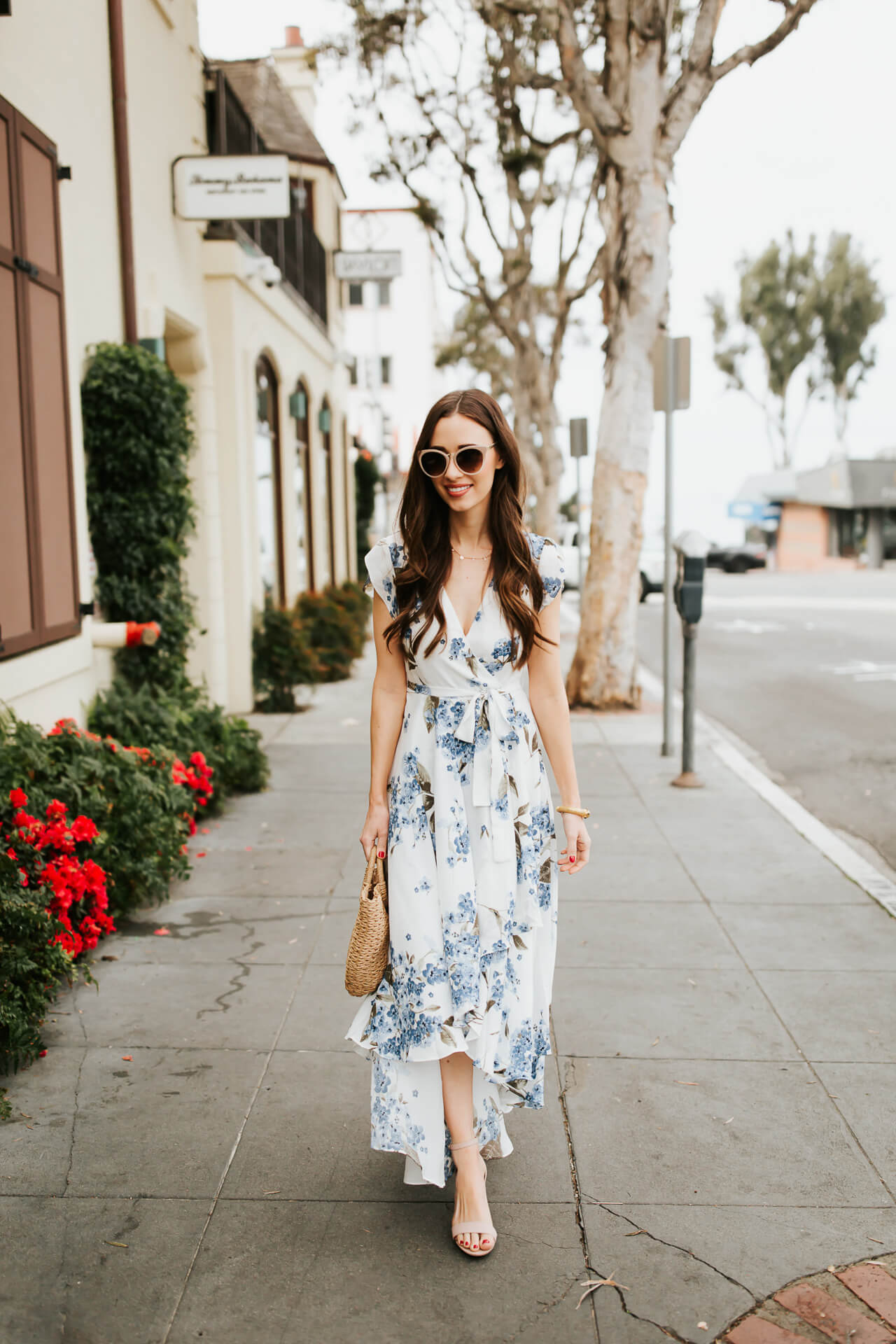 blue and white floral asymmetrical dress