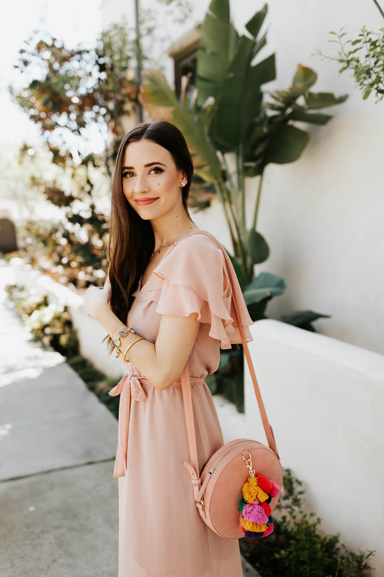ruffled sleeves on pretty pink dress - feminine fashion blogger M Loves M @marmar