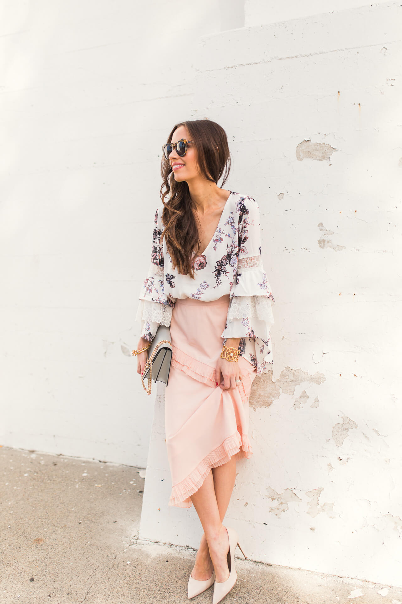floral blouse with pink skirt