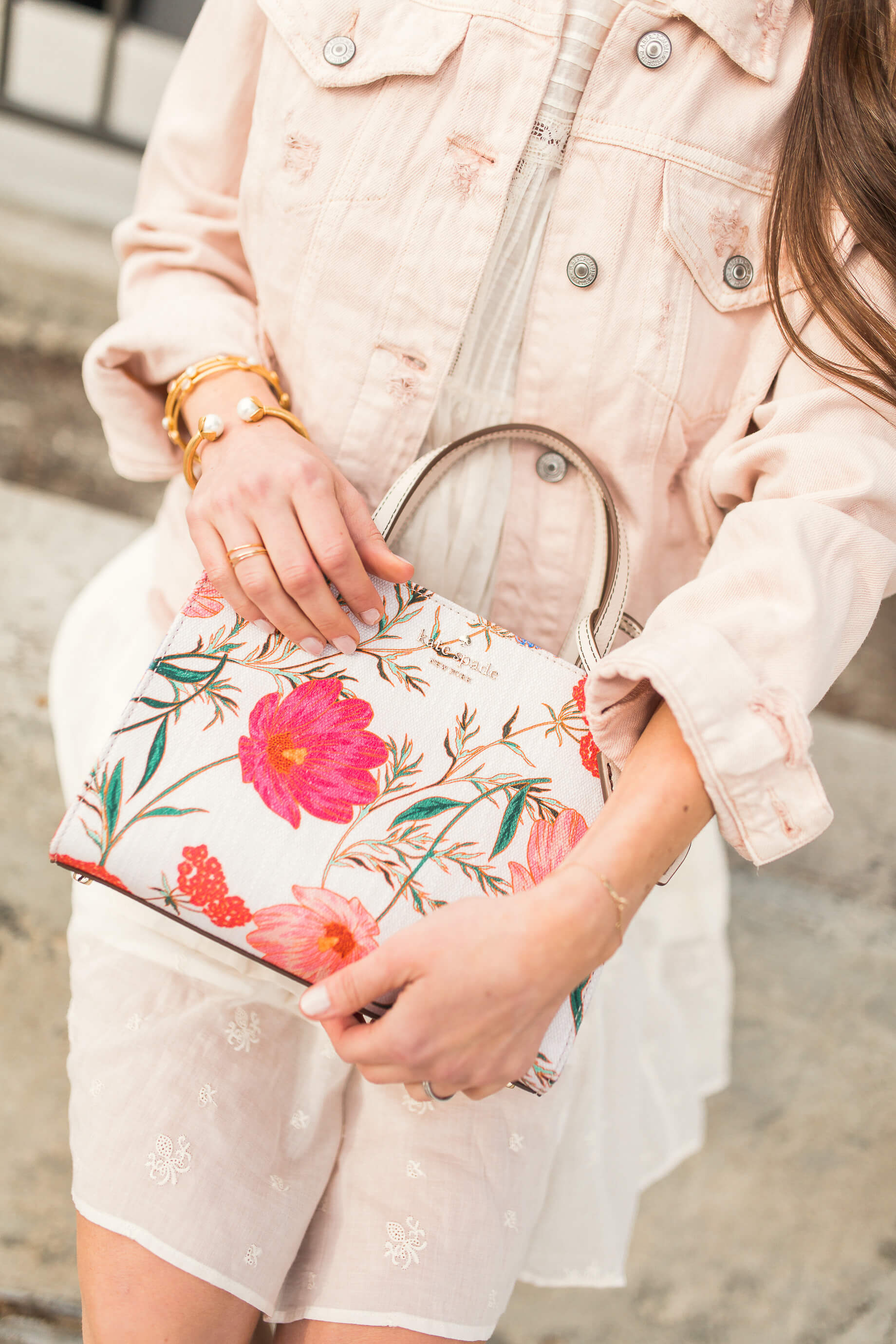 leather pink floral bag for spring