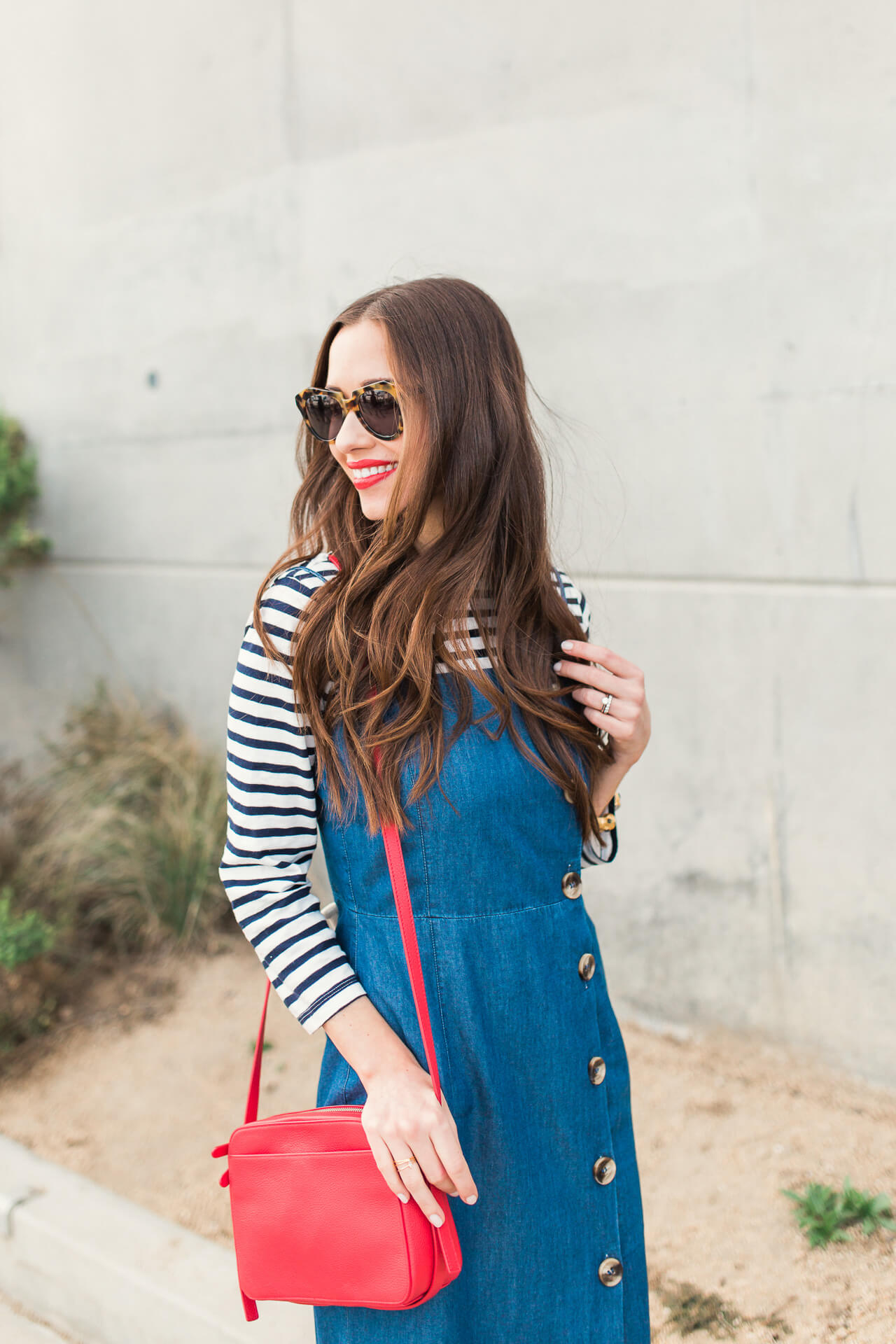 a cute layered outfit with a denim dress and striped shirt - M Loves M Los Angeles Orange County feminine fashion blogger @marmar