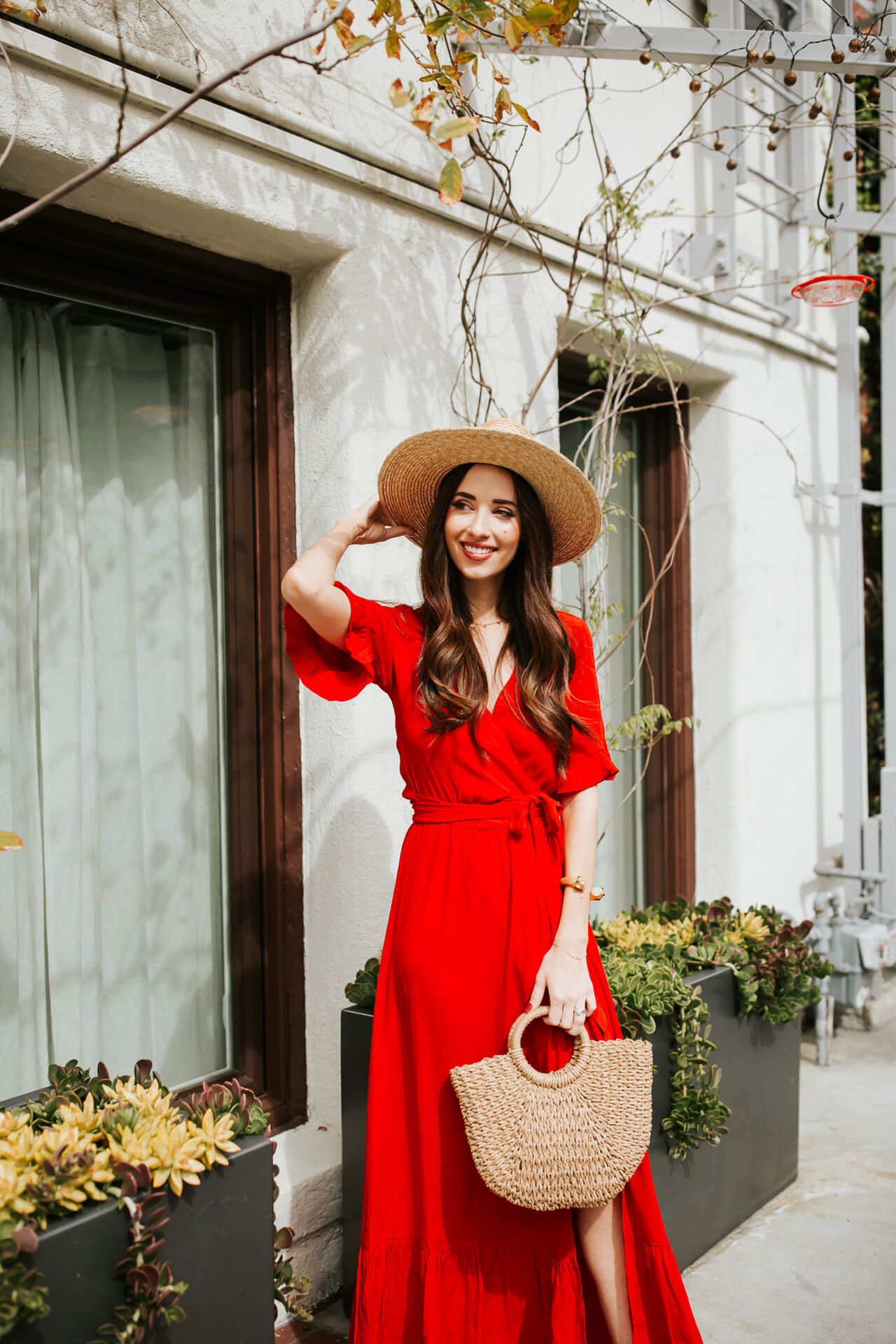 ruffled red maxi dress from Lulus on Orange County Fashion and Lifestyle Blogger M Loves M