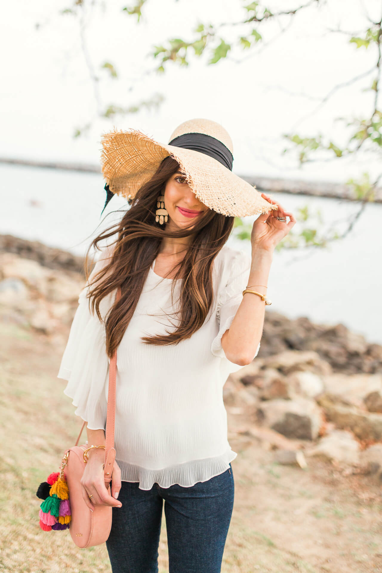 spring straw hat and outfit inspiration