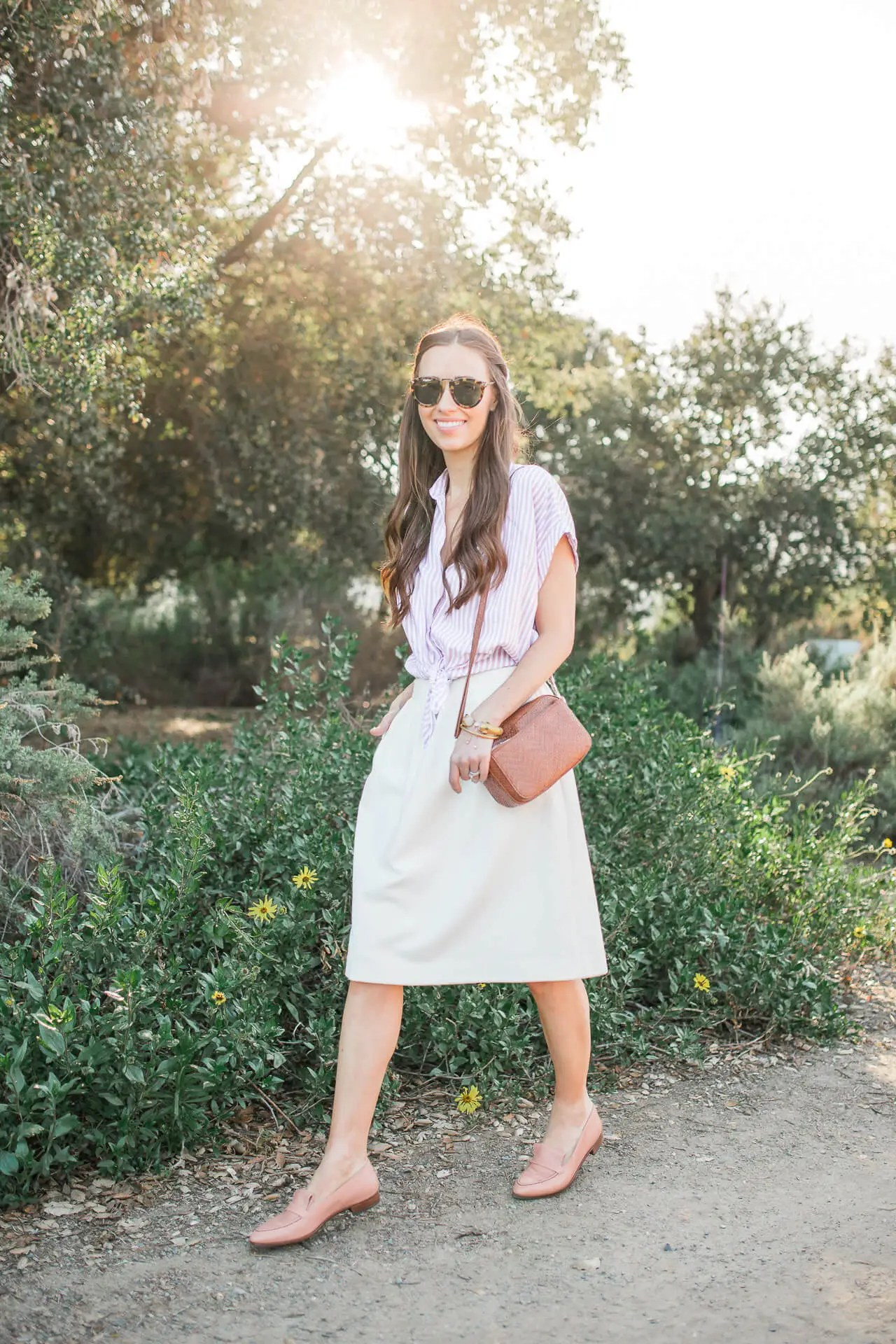 I love pairing a crisp button-down shirt with a flowy skirt! | M Loves M @marmar