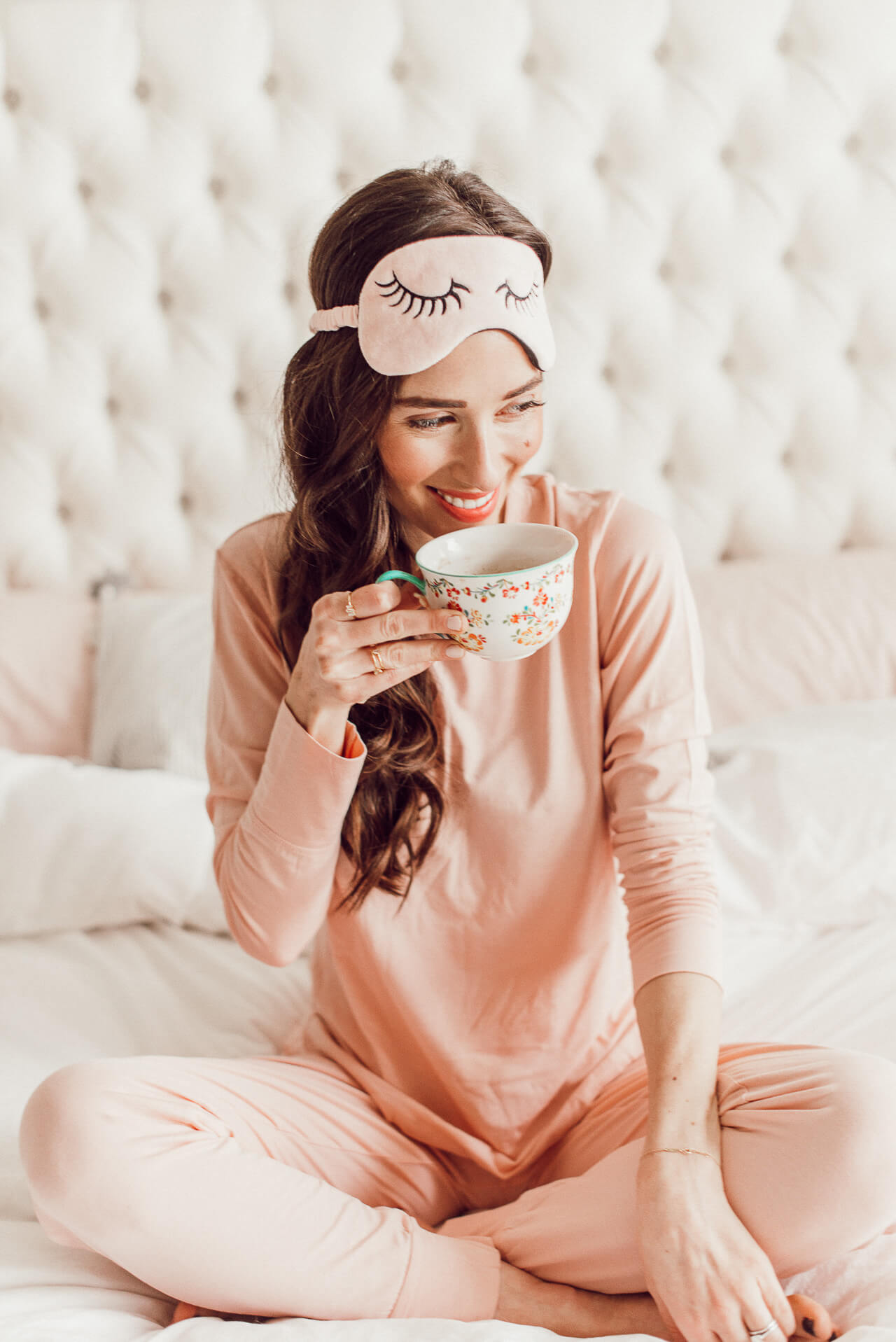 How cute are these pink pajamas and eye mask? Check out my favorite morning routine! | M Loves M @marmar