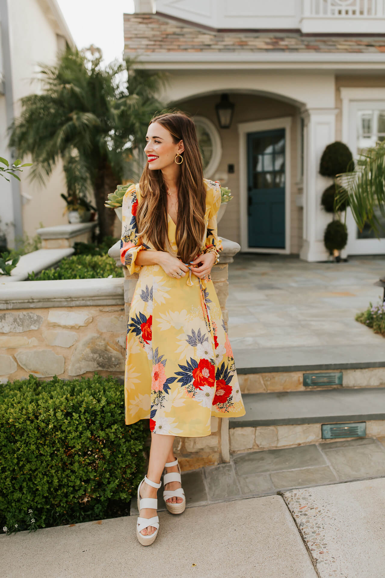 This floral yellow wrap dress is perfect for summer and fall! | M Loves M @marmar