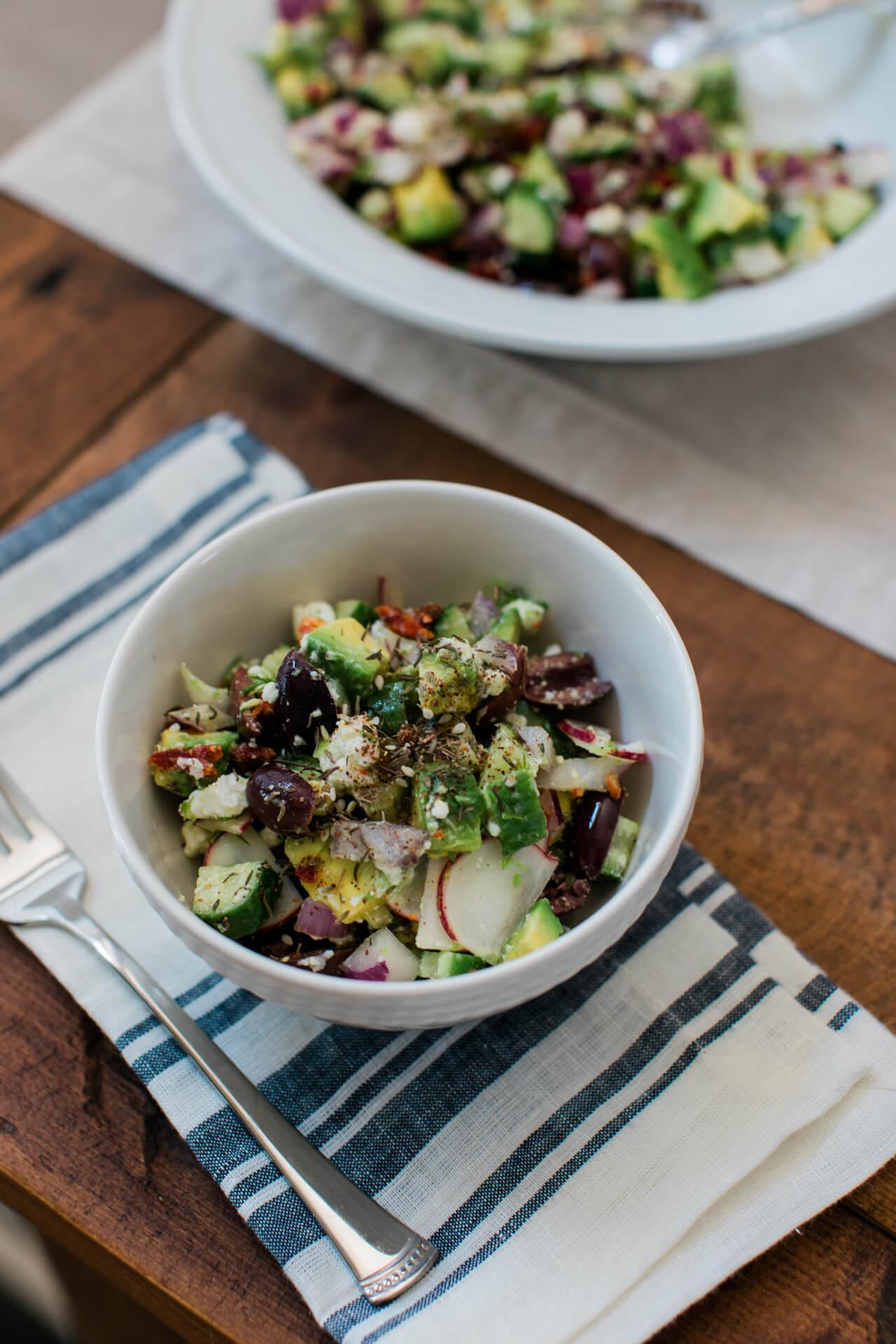 healthy summer recipe for a delicious avocado greek salad - M Loves M @marmar