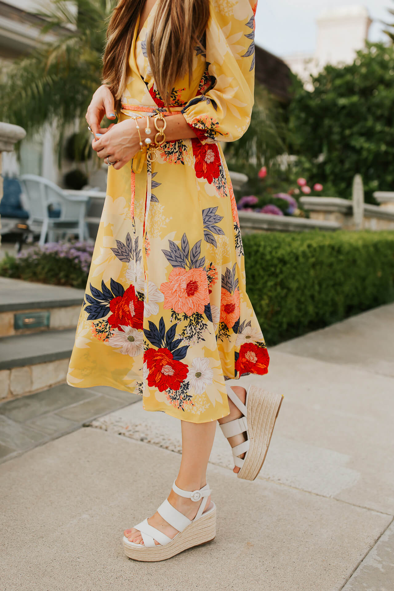 Wedges and wrap dresses are such a fun summer outfit! | M Loves M @marmar