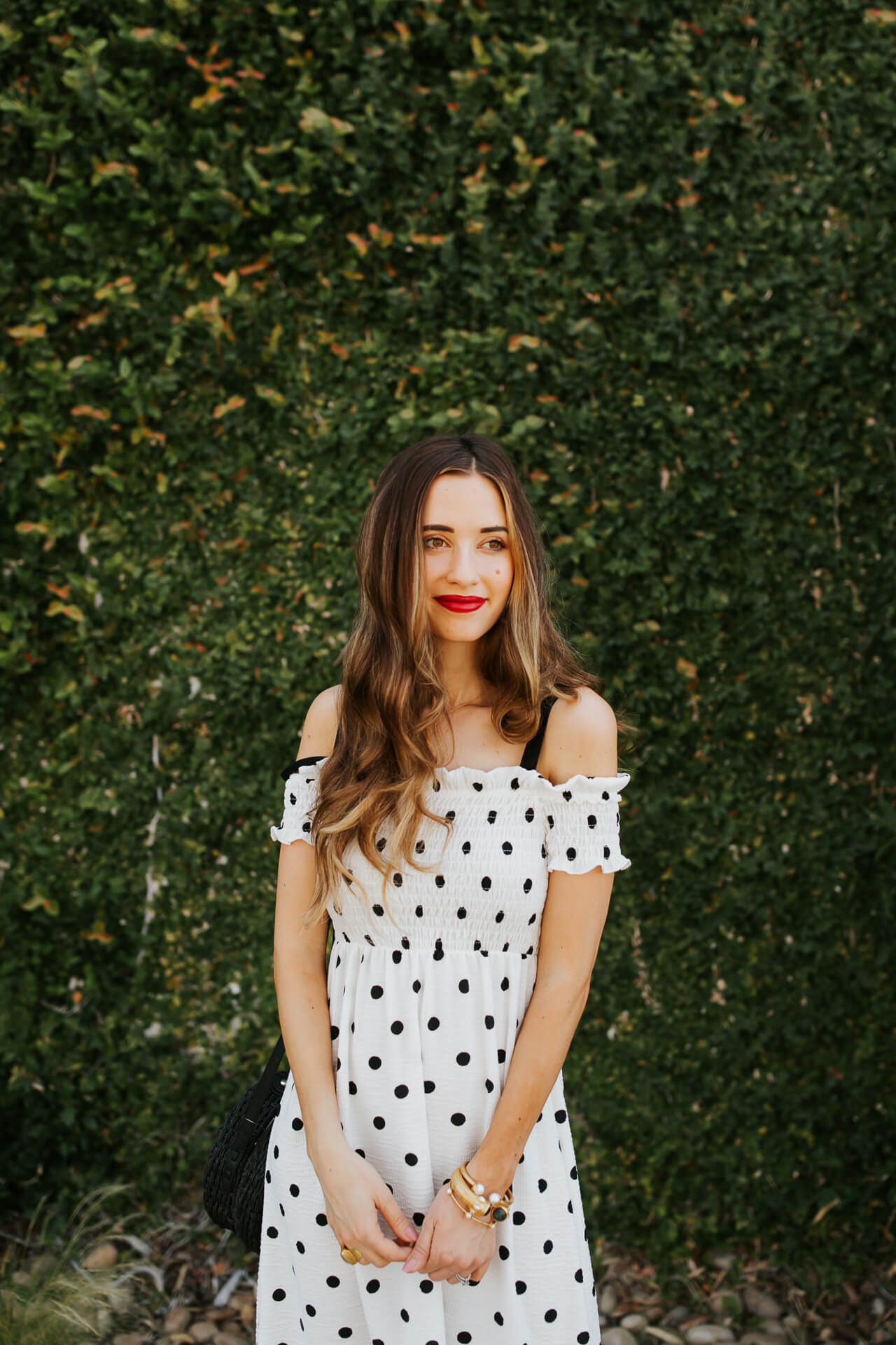 This off the shoulder polkadot dress is too cute! | M Loves M @marmar
