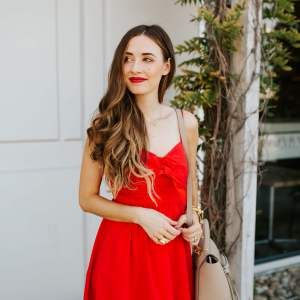 What a pretty red dress from Nordstrom! Such a glamorous outfit! | M Loves M @marmar