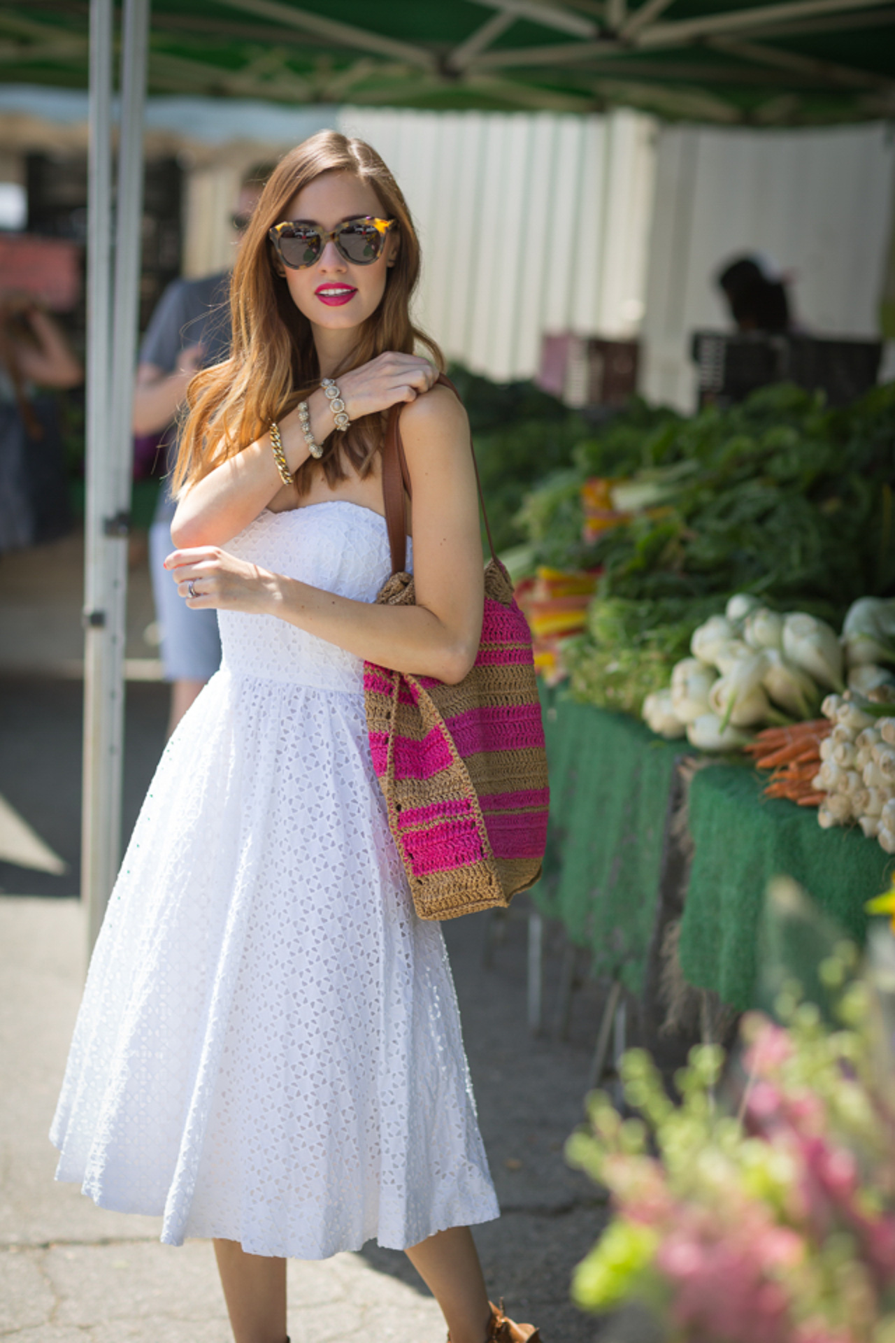 I love this white, eyelet strapless fress! | M Loves M @marmar