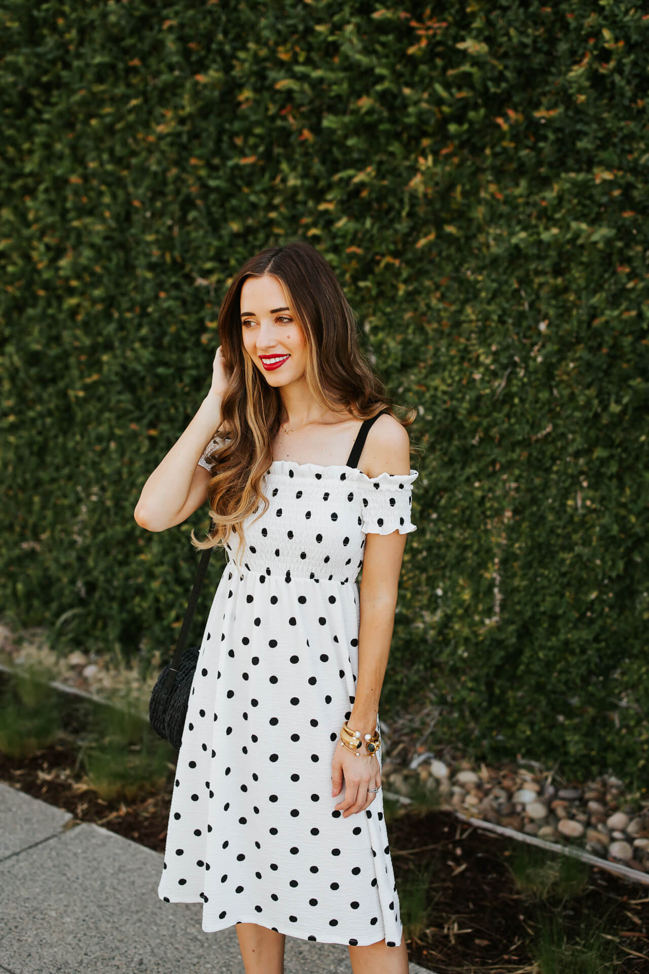 A black and white polkadot printed dress from Topshop. | M Loves M @marmar