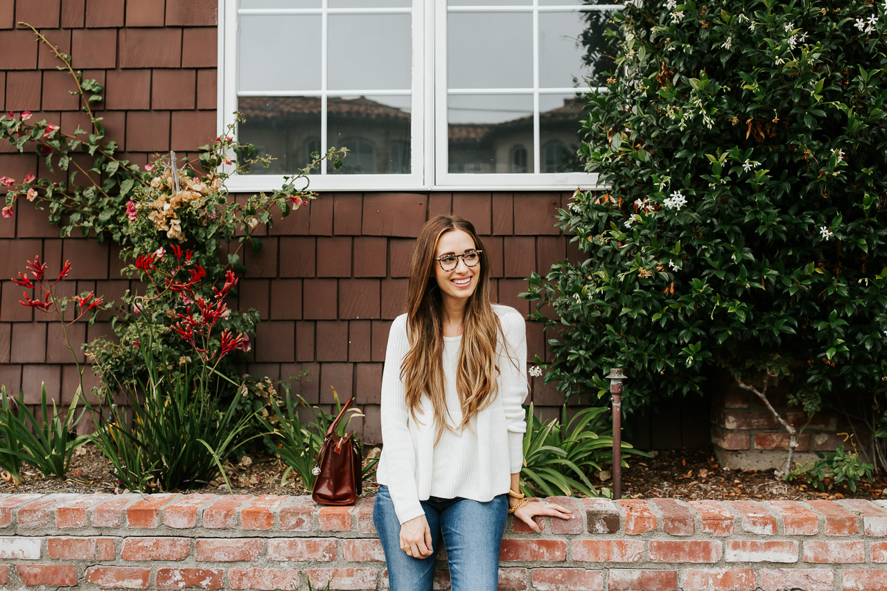 A cream cable knit sweater.   M Loves M @marmar