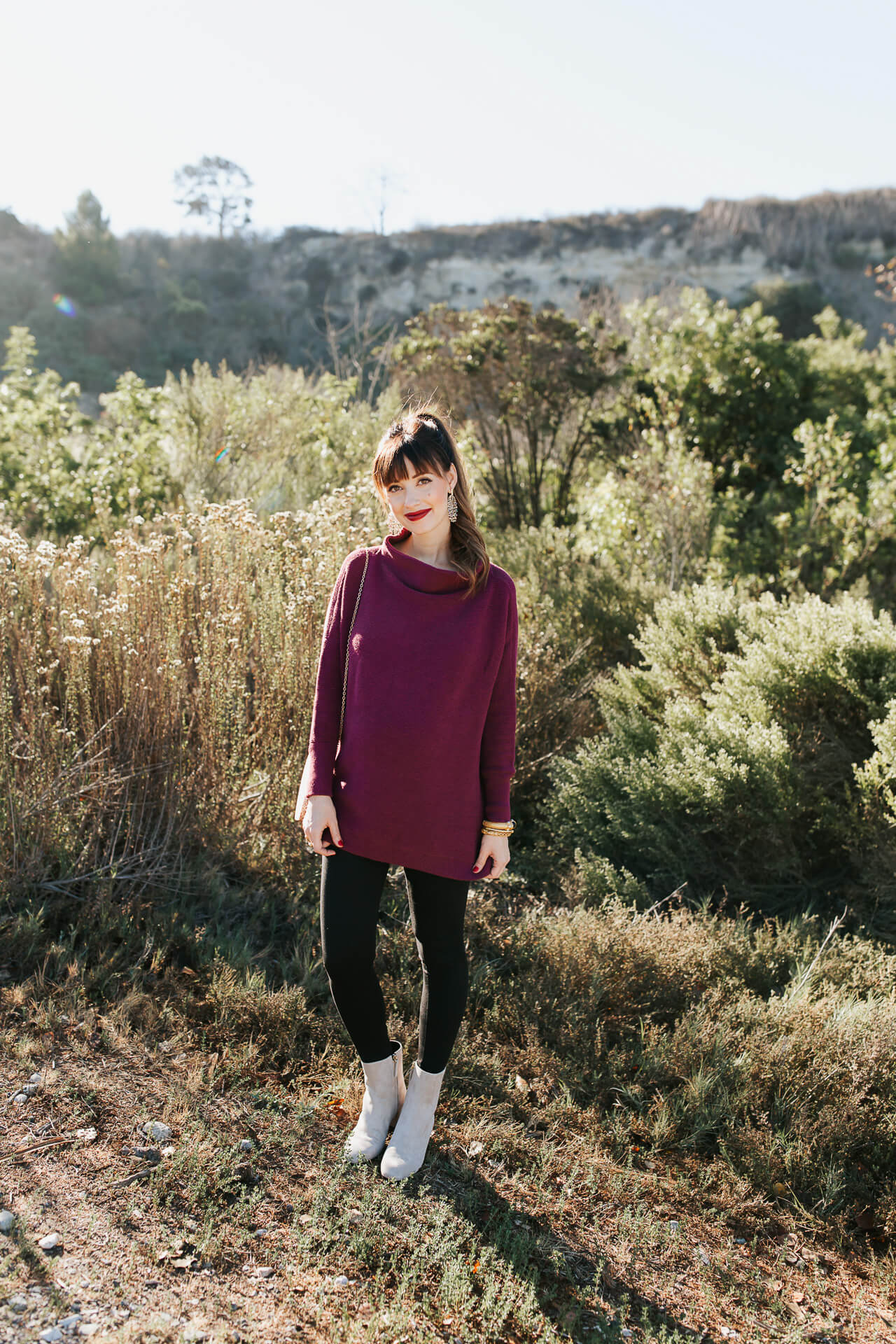 I love this burgundy sweater paired with leggings! - M Loves M @marmar
