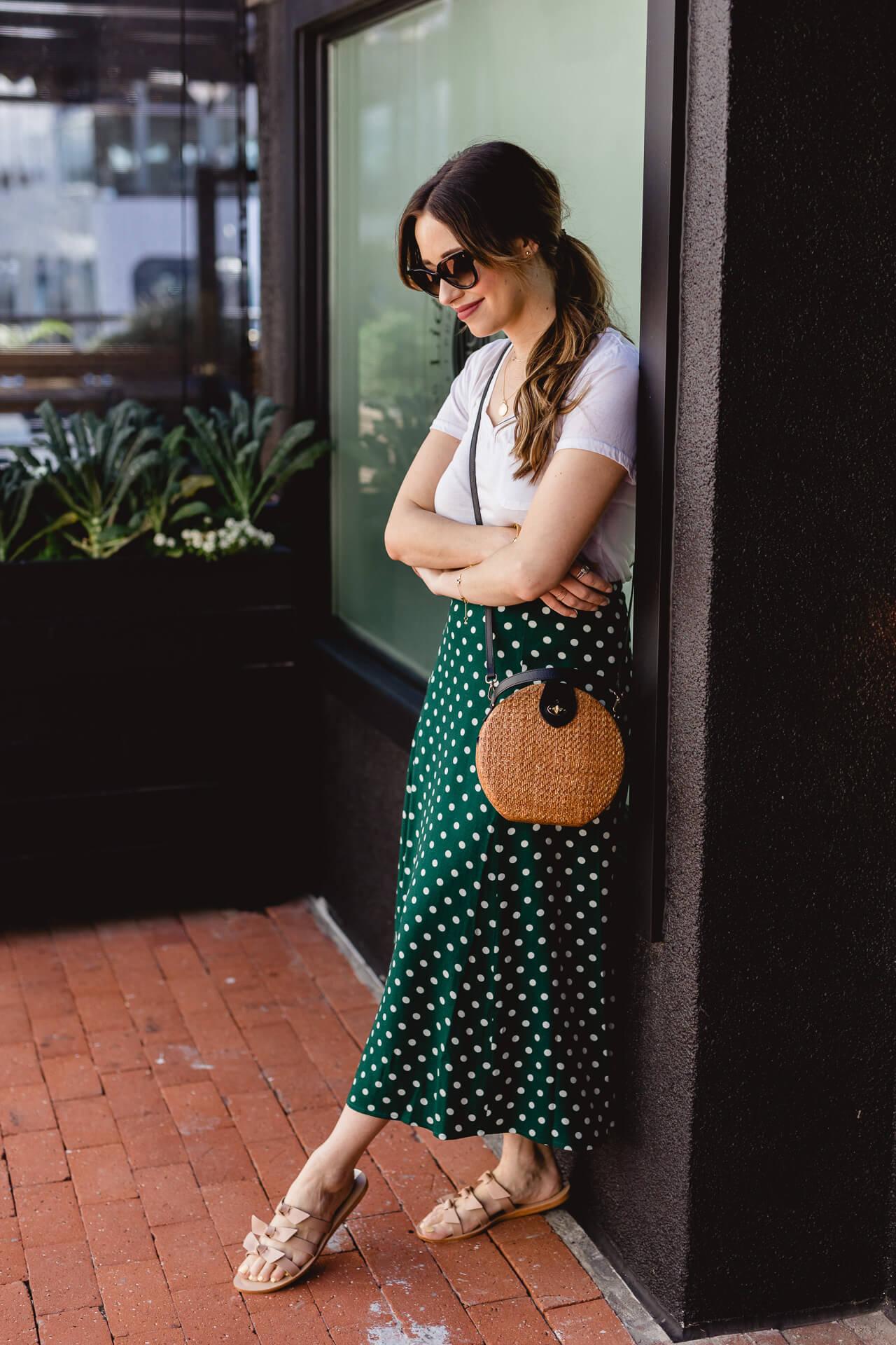 Love this Reformation green polkadot skirt! - M Loves M