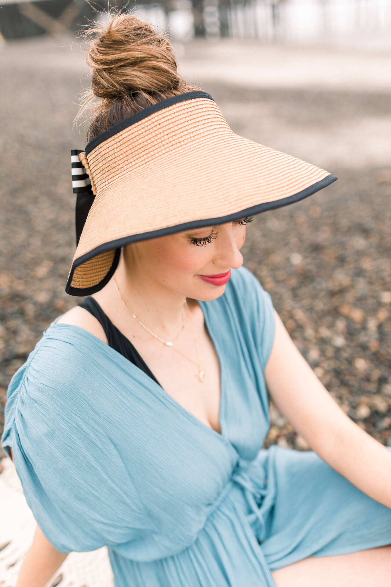 Cute straw hat visor for the beach - M Loves M